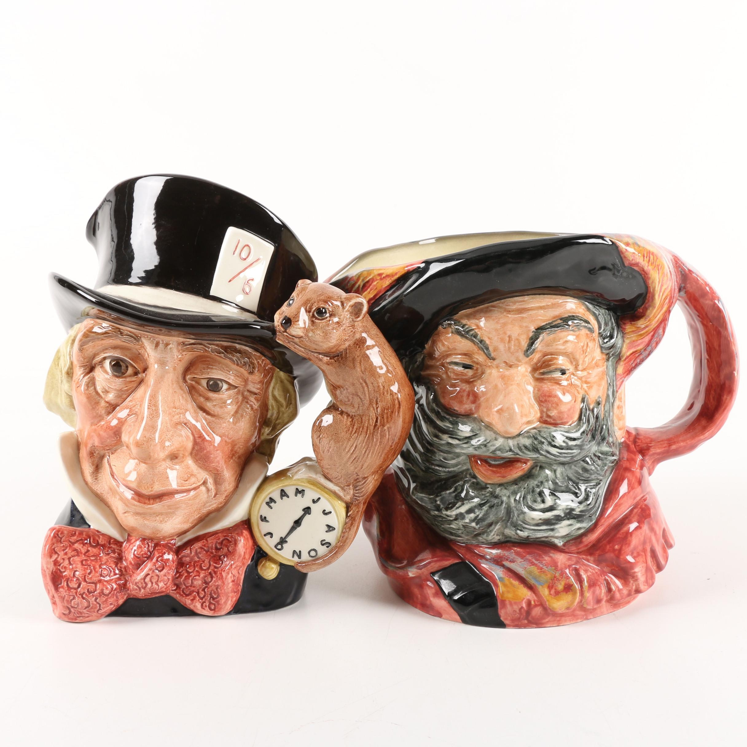 "Royal Doulton Porcelain ""Mad Hatter"" and ""Falstaff"" Toby Jugs"