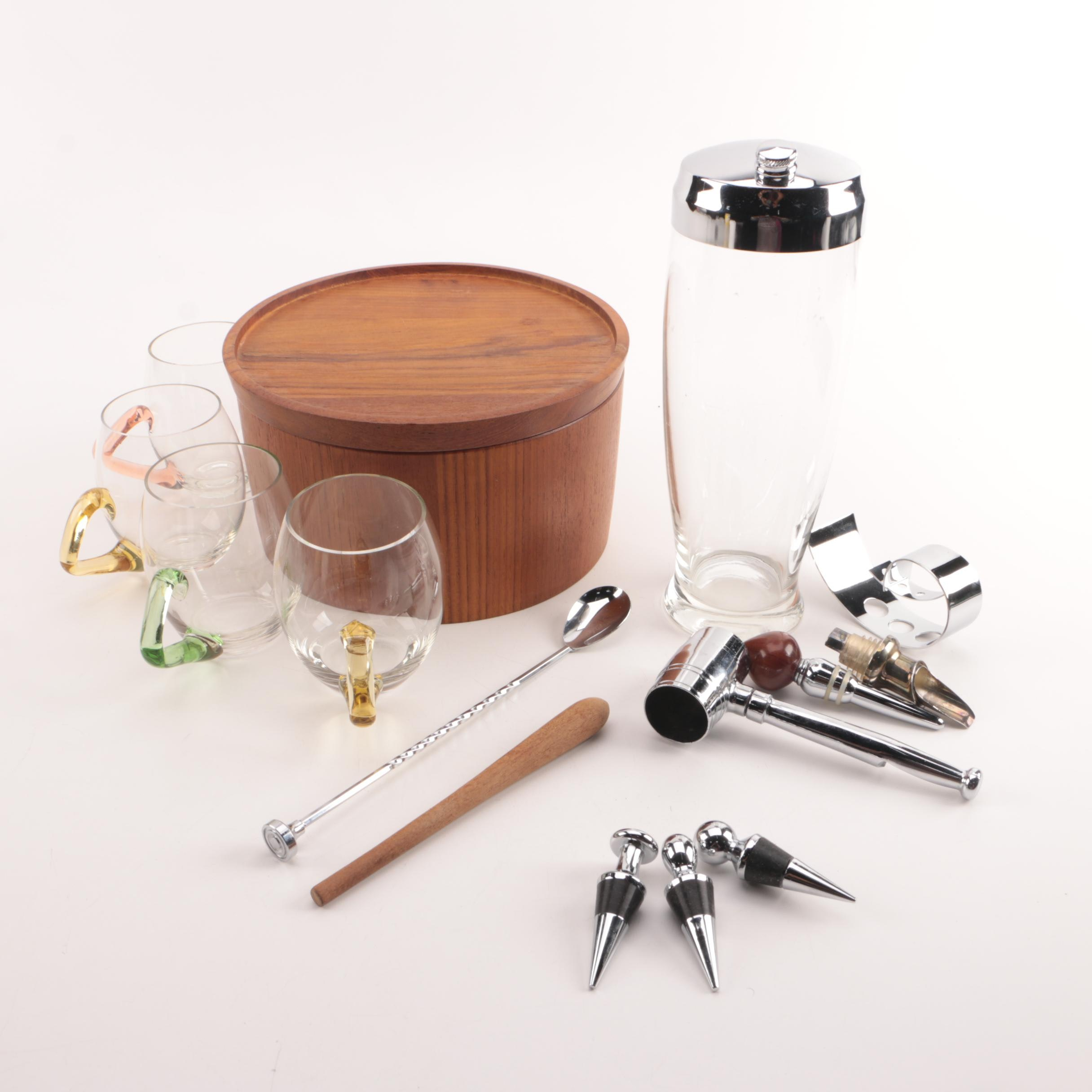 Glass Cocktail Shaker, Bottle Stoppers, Wooden Muddler, and Other Barware
