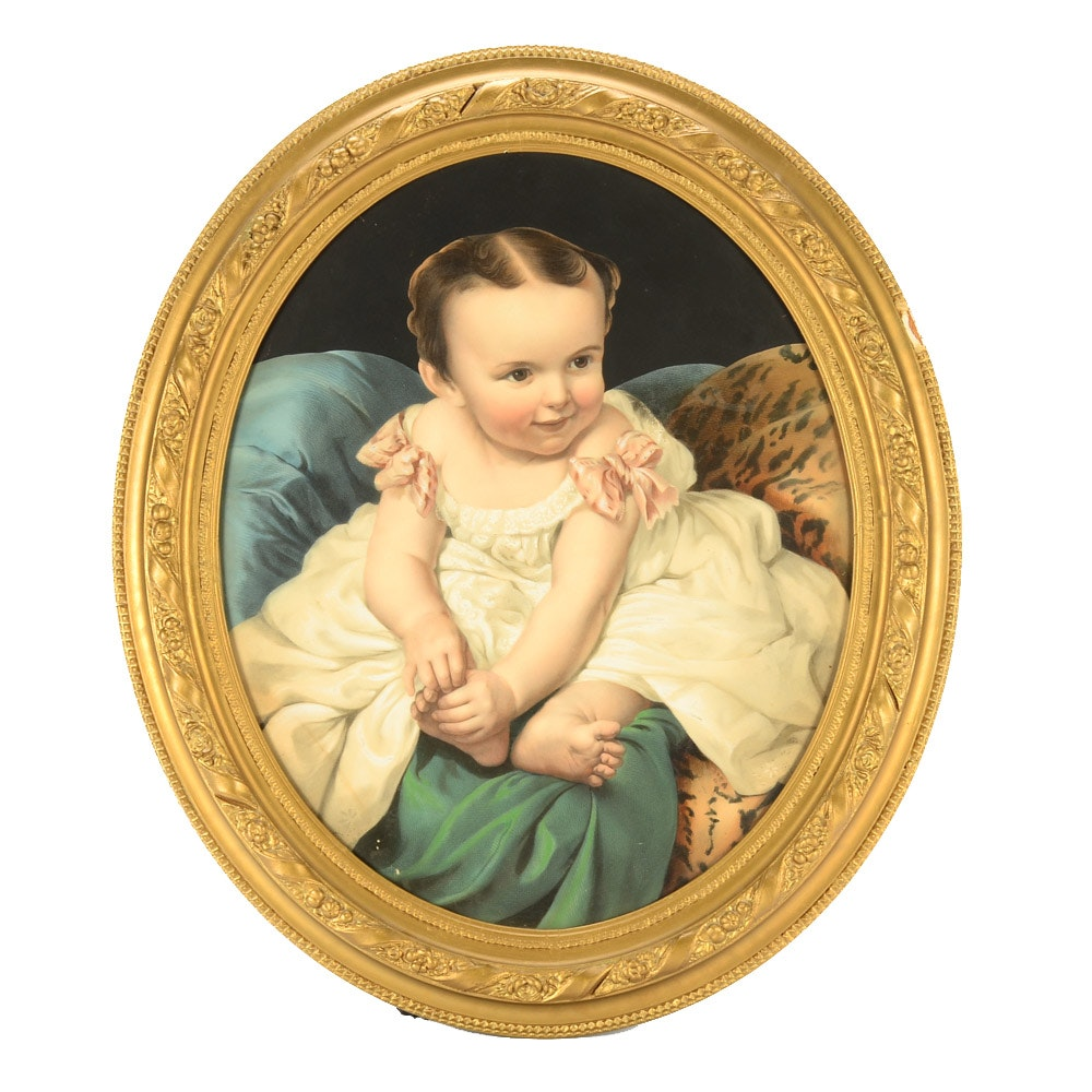 Vintage Lithograph Print of Infant with Pochoir and Hand-coloring