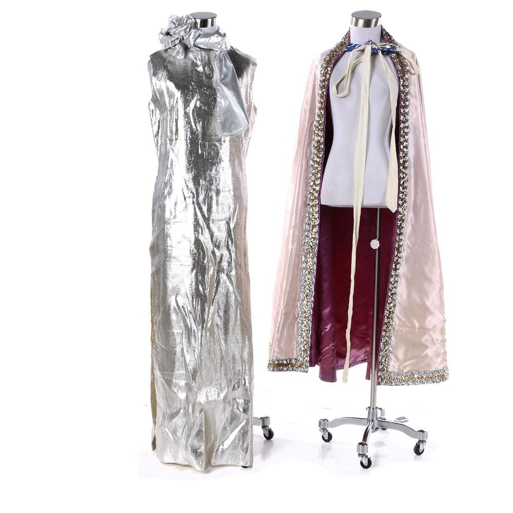 Theatrical Costume Silver Metallic Sleeveless Gown, Embellished Cape & Decor
