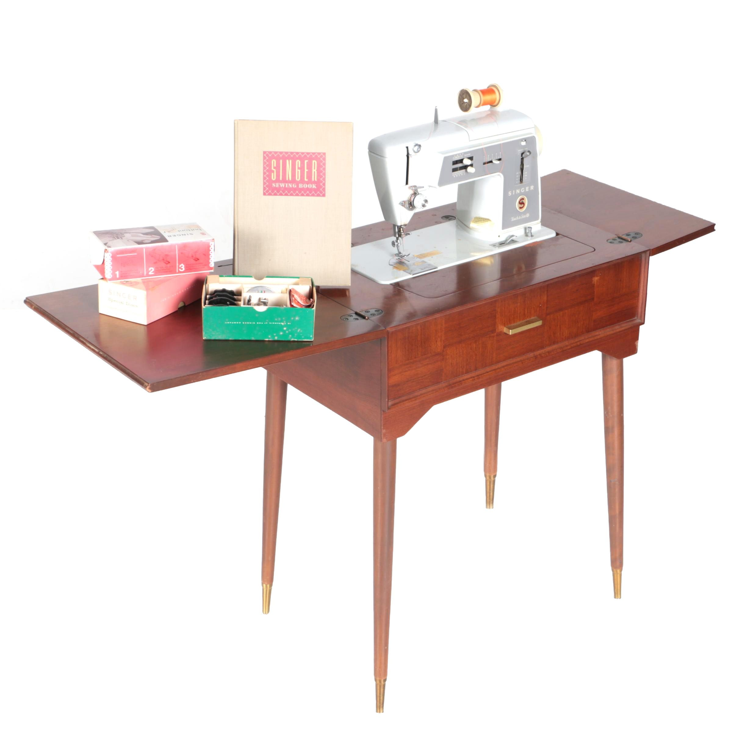 "Singer ""Touch & Sew"" Sewing Machine and Mid Century Modern Table"
