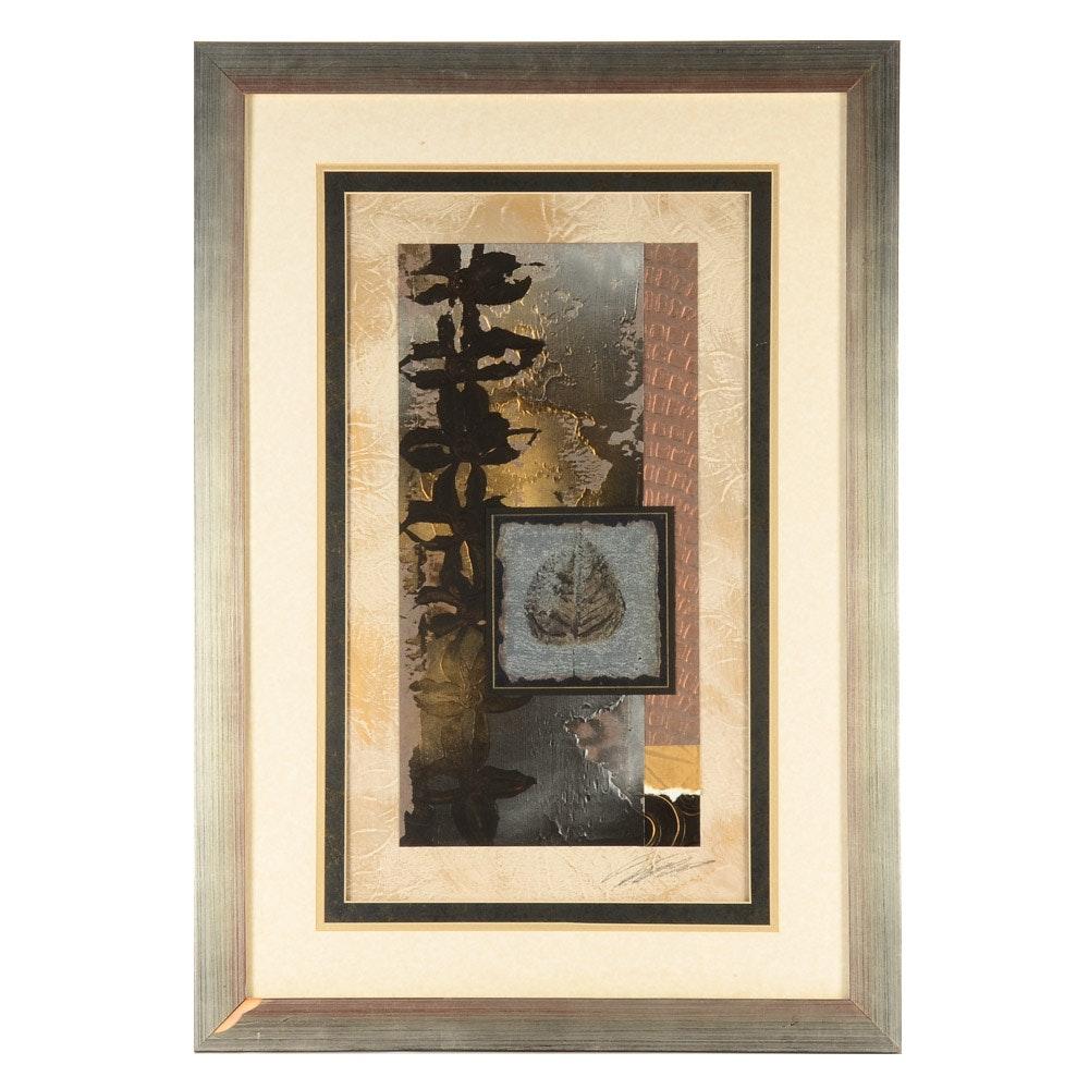 """Signed Limited Edition Mixed Media Collage """"Blue Ridge Botanical II"""""""