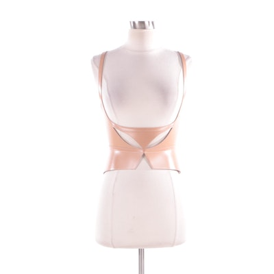 2012 Runway Hervé Léger Leather Laser Cut Bustier, New With Tags