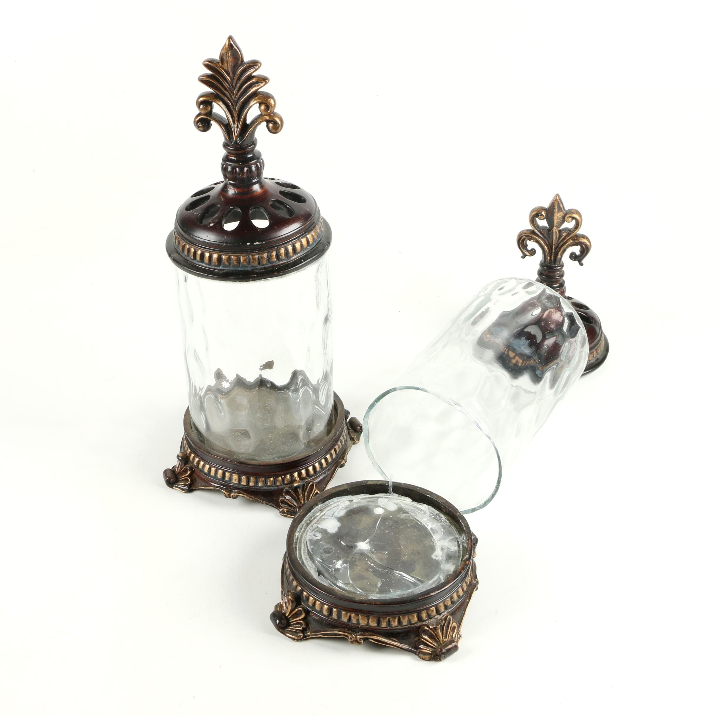 Glass and Wood Jars with Palmette Finials