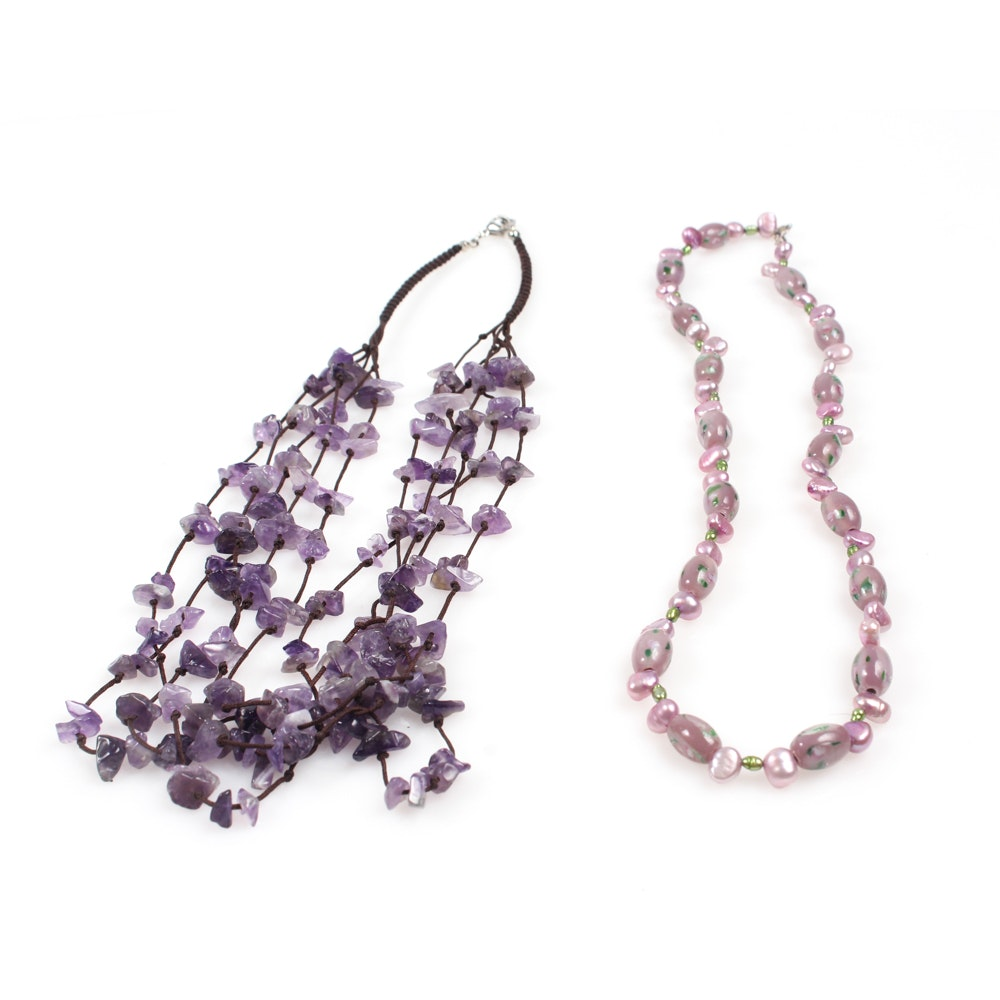 Amethyst and Freshwater Pearl Necklaces
