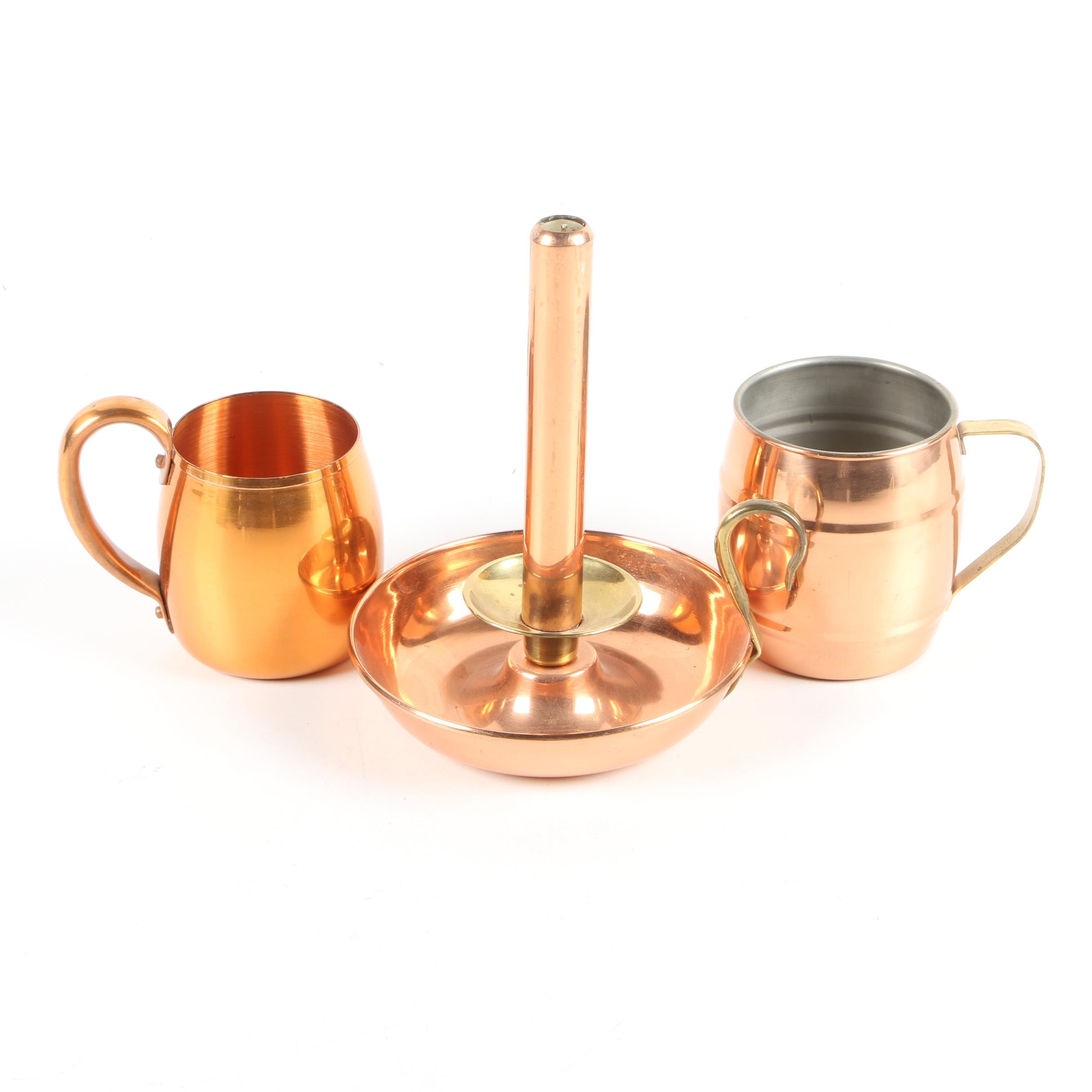Copper Accented Chamberstick and Mugs including Solid Copper