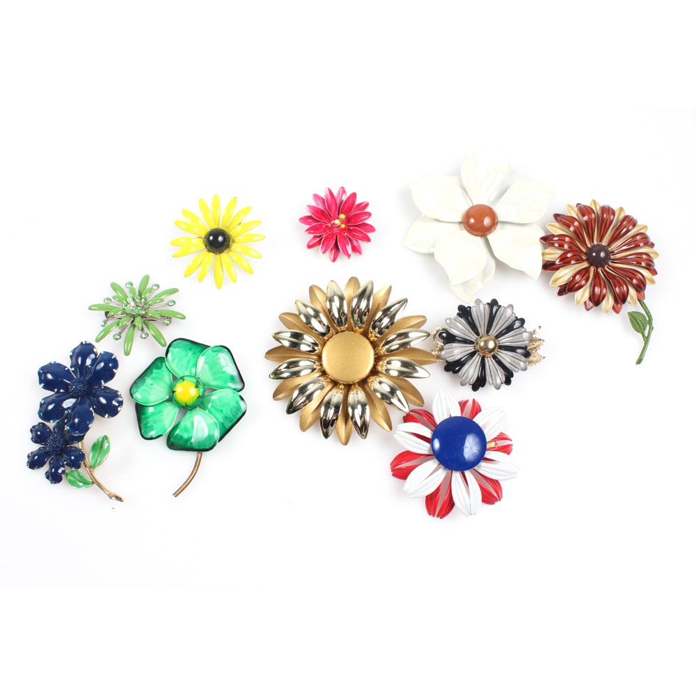 Vintage Enameled Gold Tone Brooches