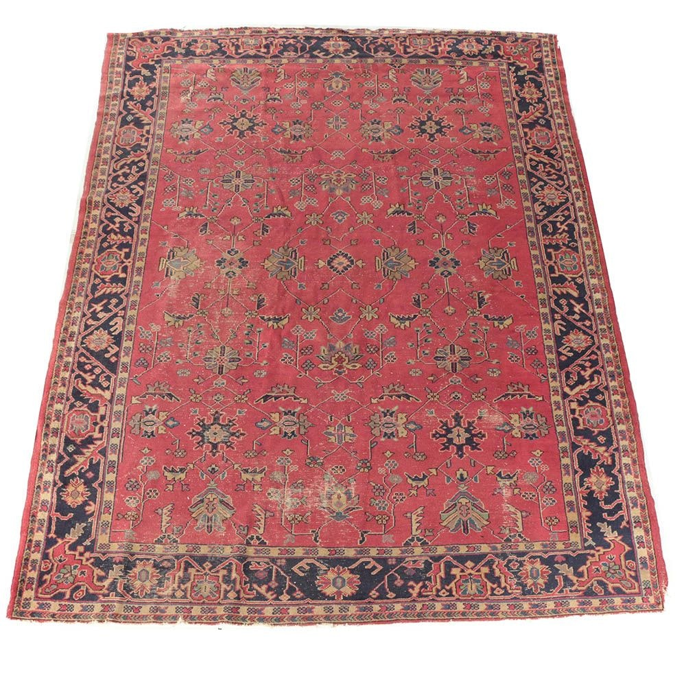 Antique Hand-Knotted Turkish Area Rug