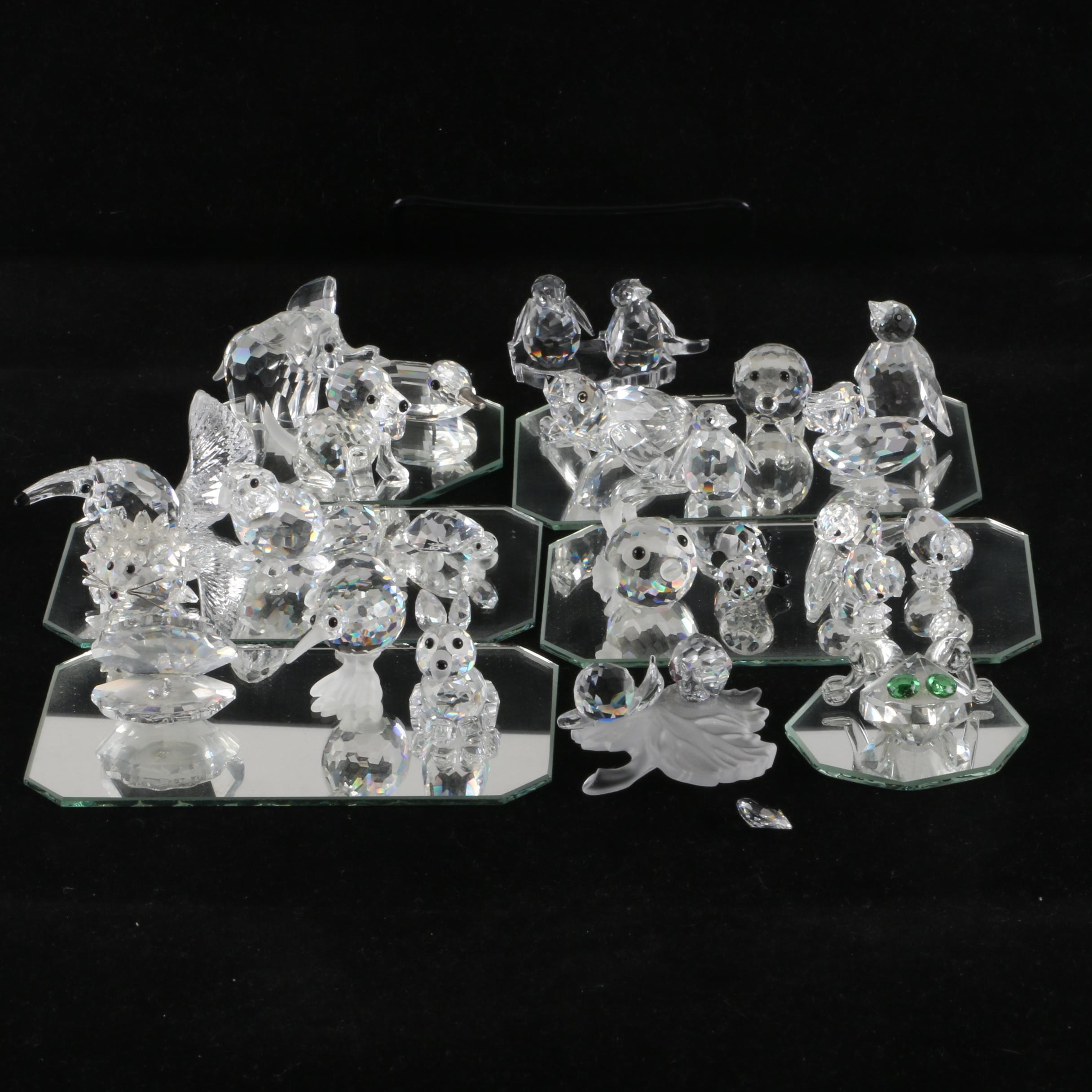 Swarovski Animal Figurines and Mirrored Stands