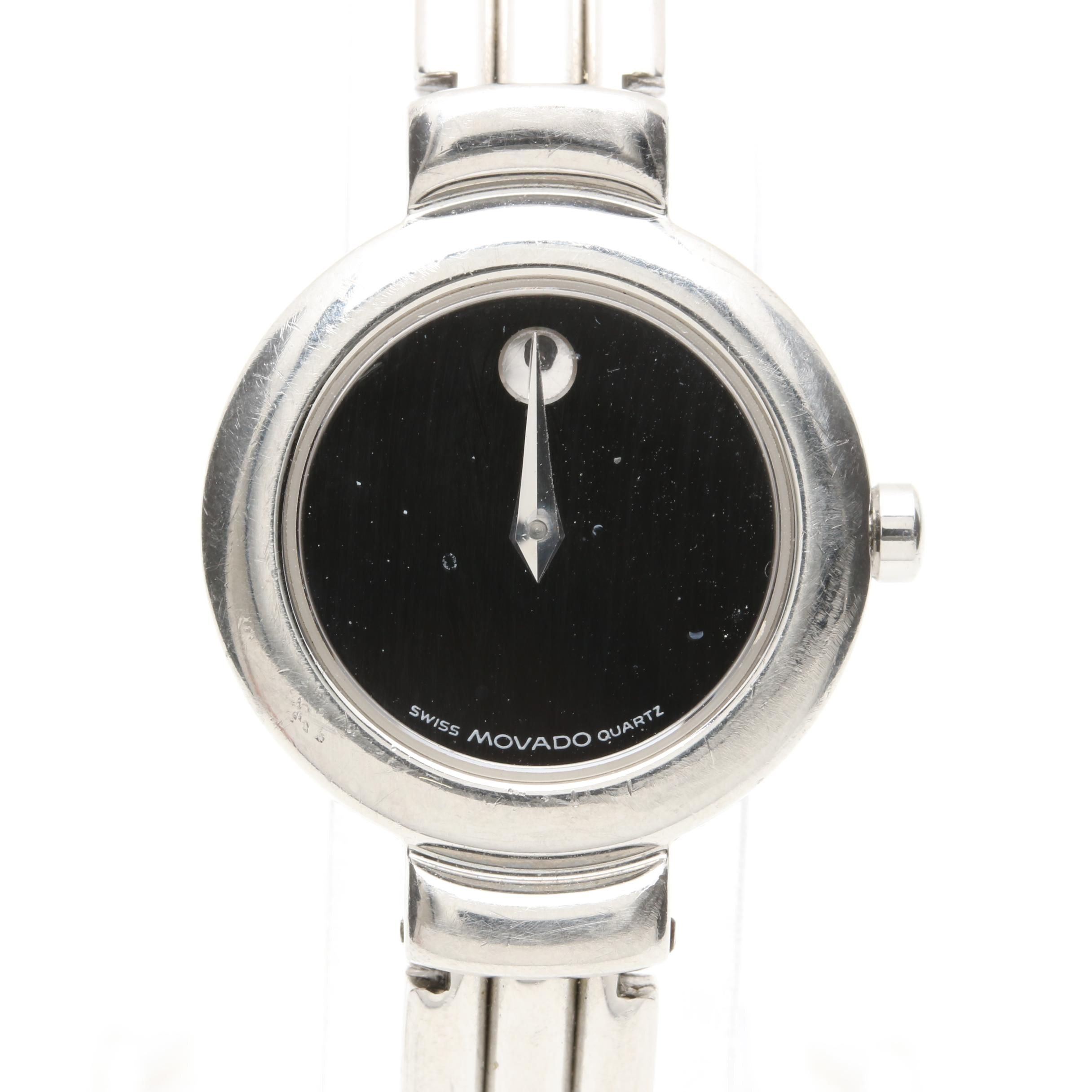 Movado Stainless Steel Black Dial Bangle Wristwatch