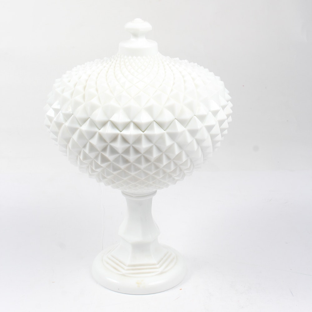 Westmoreland Glass Milk Glass Large Lidded Compote