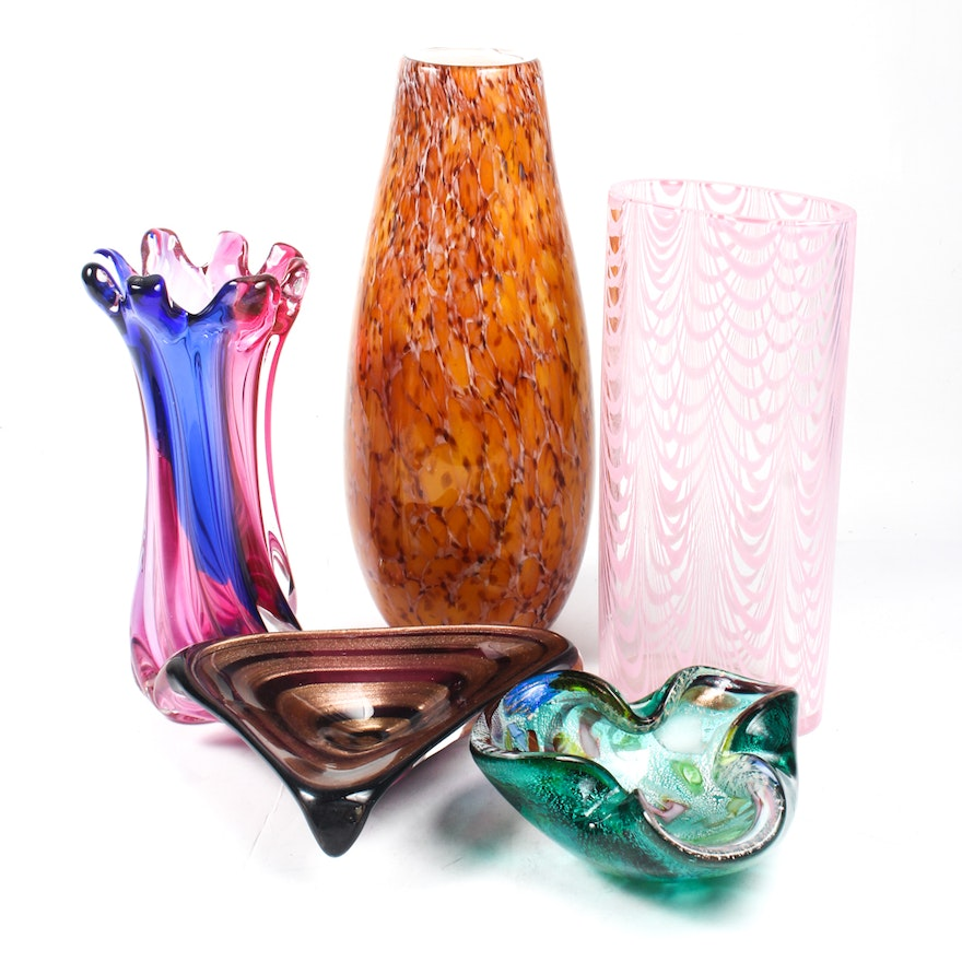 Art Glass Vases And Bowls Ebth