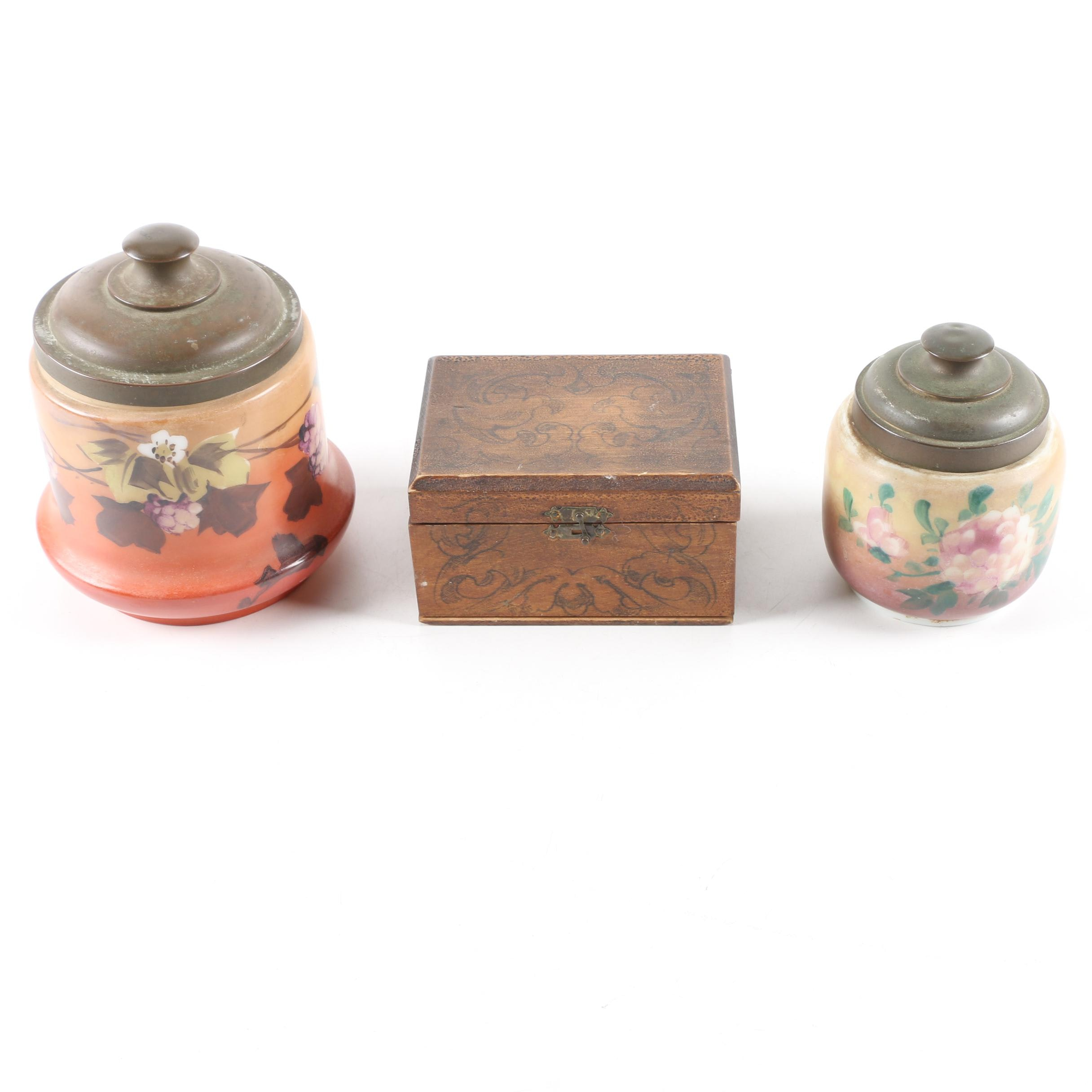 Vintage Painted Glass Jars and Decorative Wood Box