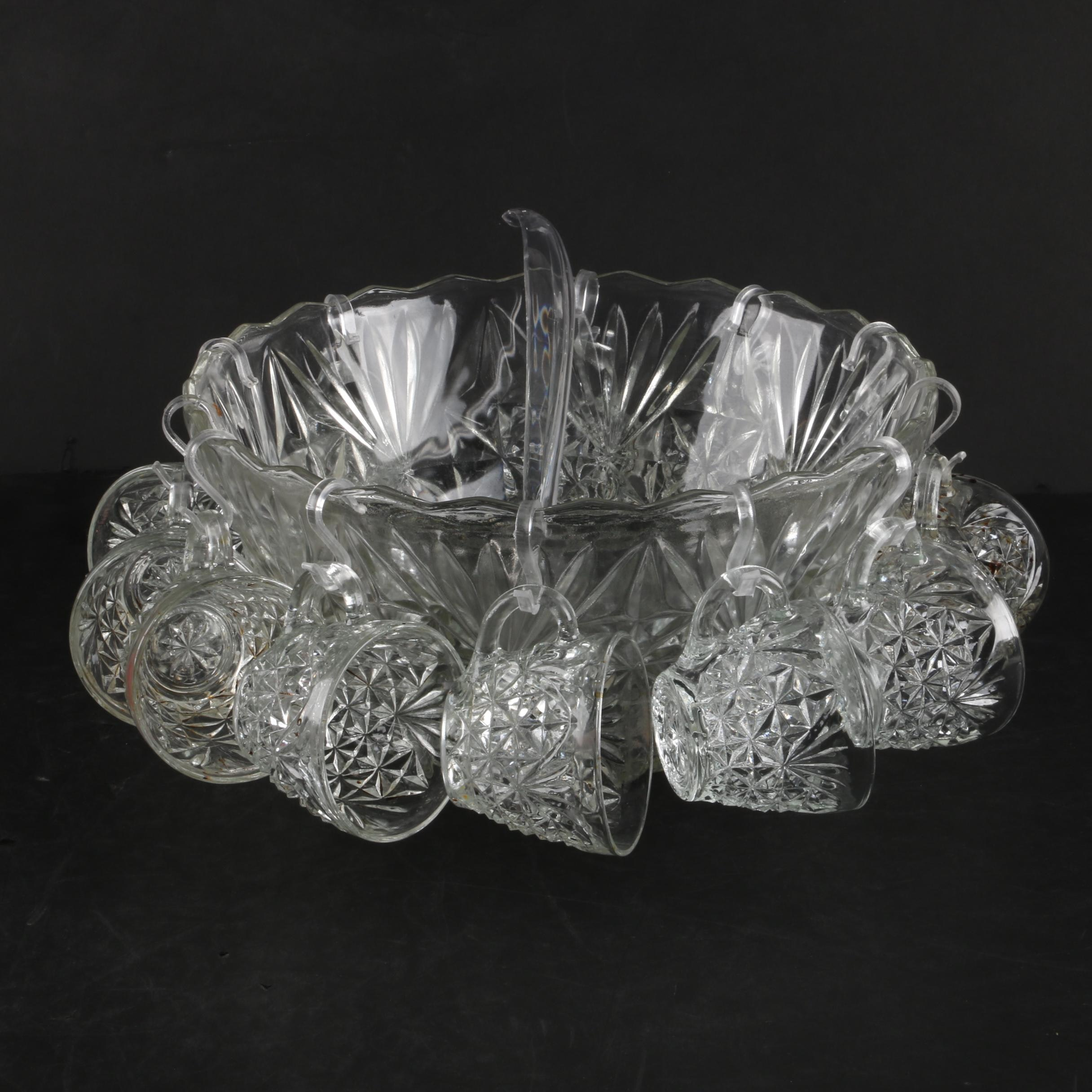 Pressed Glass Punch Bowl Set