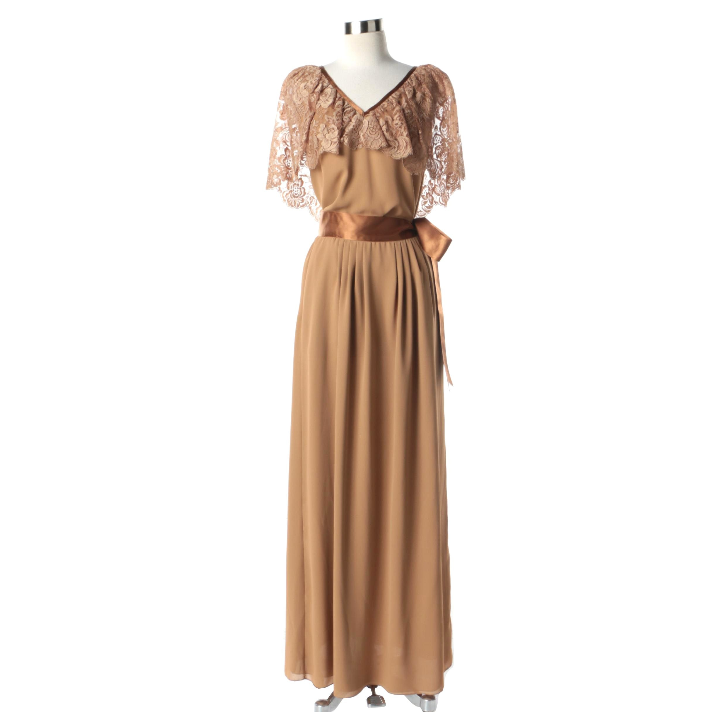 1980s Vintage Frank Tignino Caramel Silk and Lace Blouse and Maxi Skirt