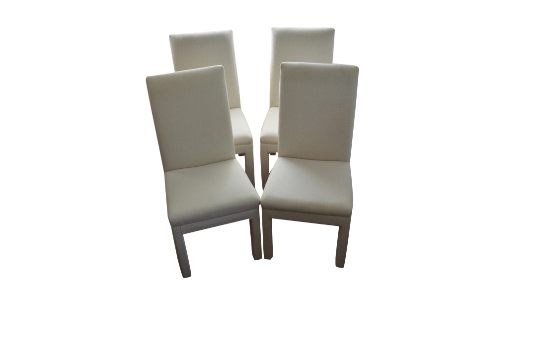 Set of Modernist Parson Style Upholstered Dining Chairs