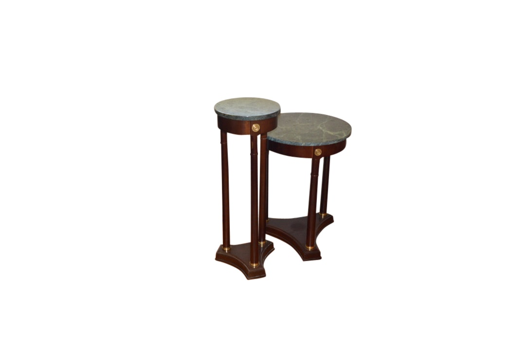 Pair of Traditional-Style Marble Top End Tables