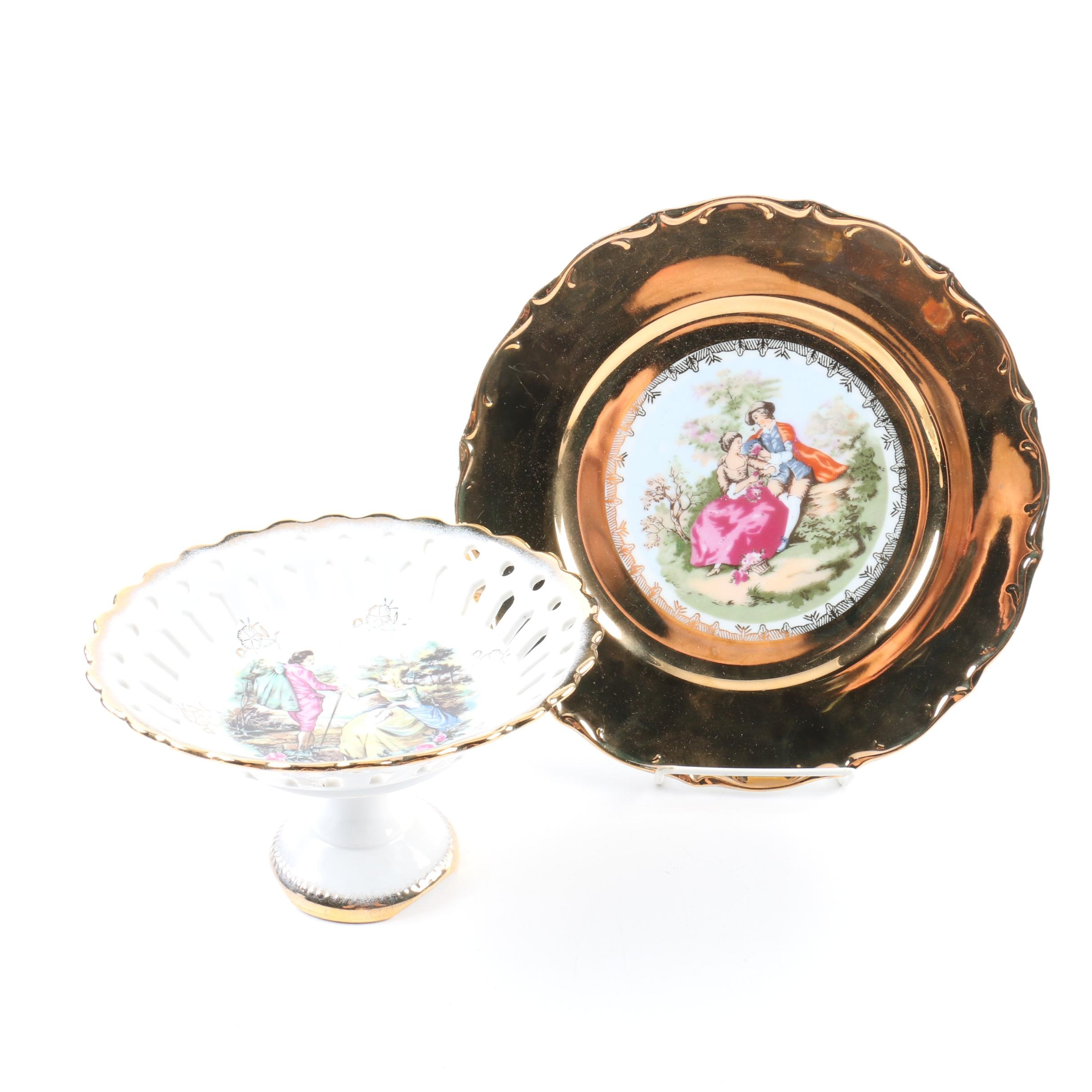 Porcelain Reticulated Footed Bowl and Decorative Plate