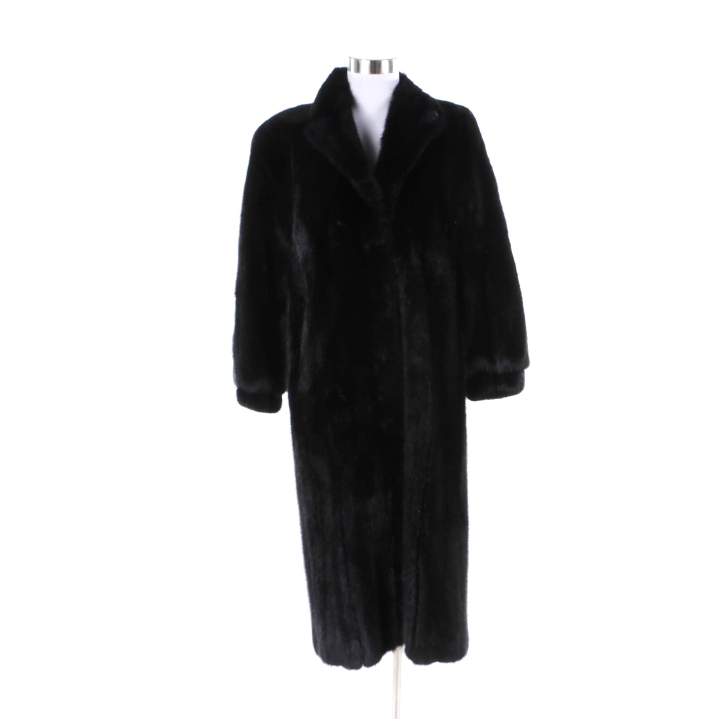 Women's Vintage Lloyd's Dyed Black Mink Fur Coat