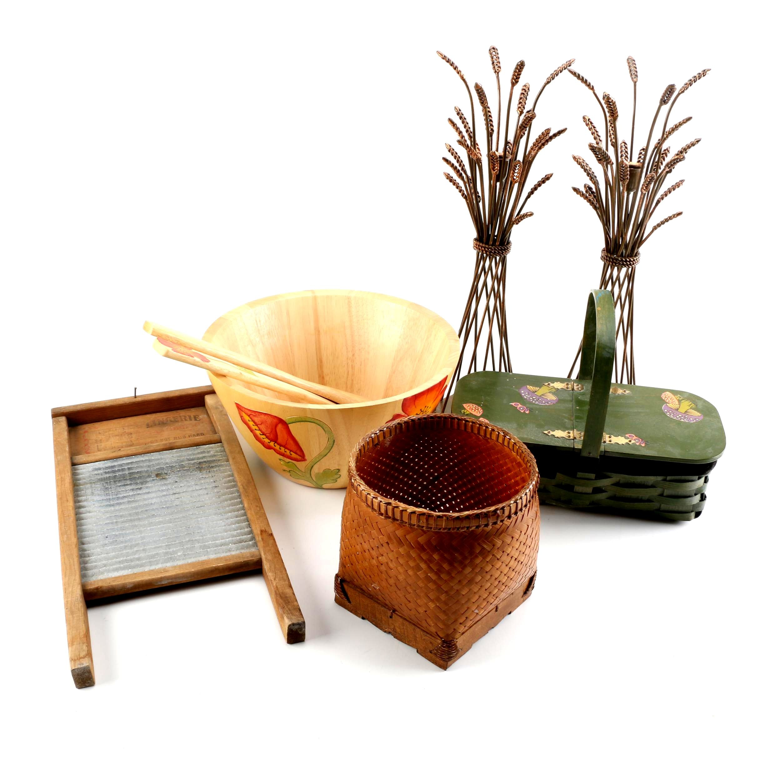 Wooden, Wicker and Metal Home Decor