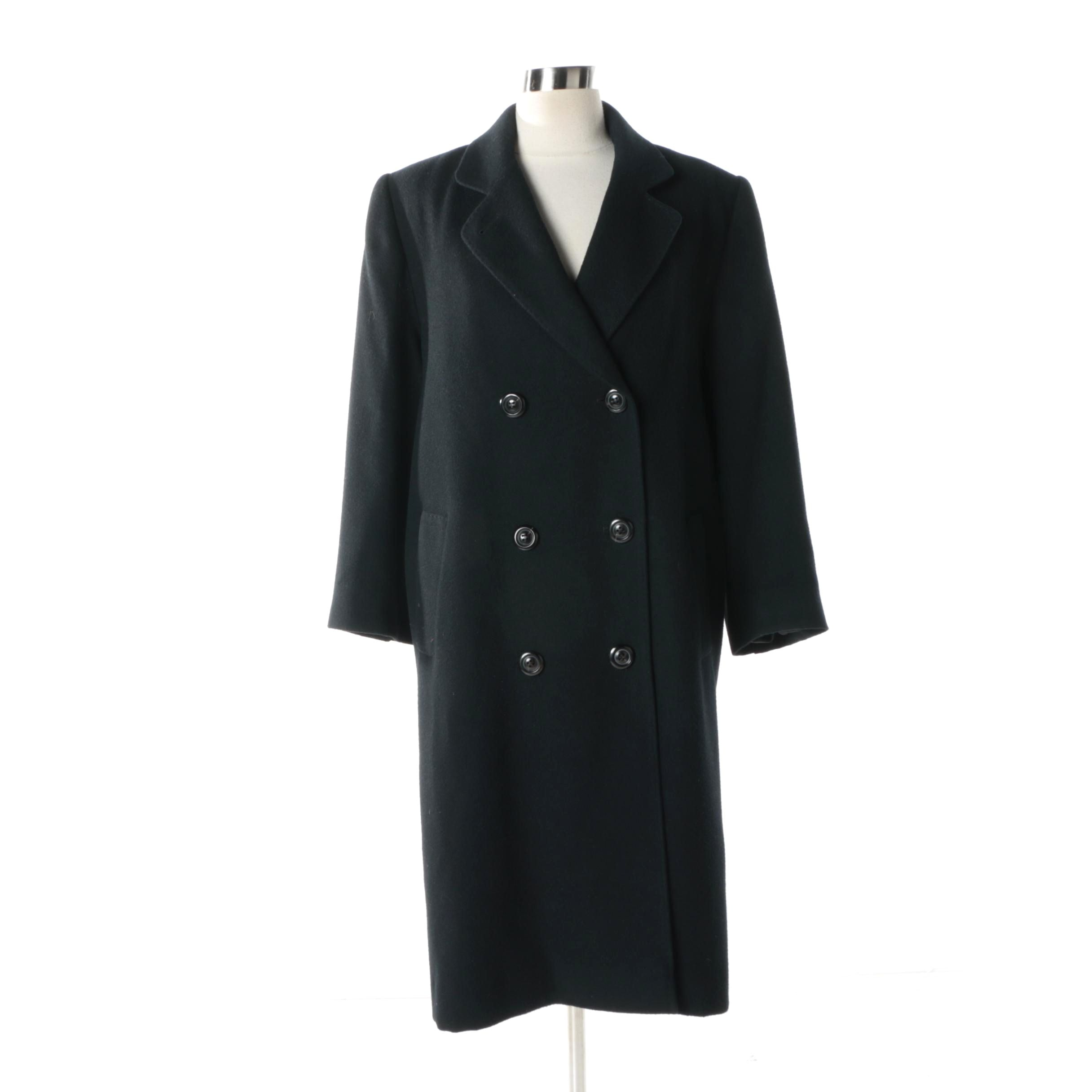 Vintage Fleurette Black Dyed Camel Hair Coat