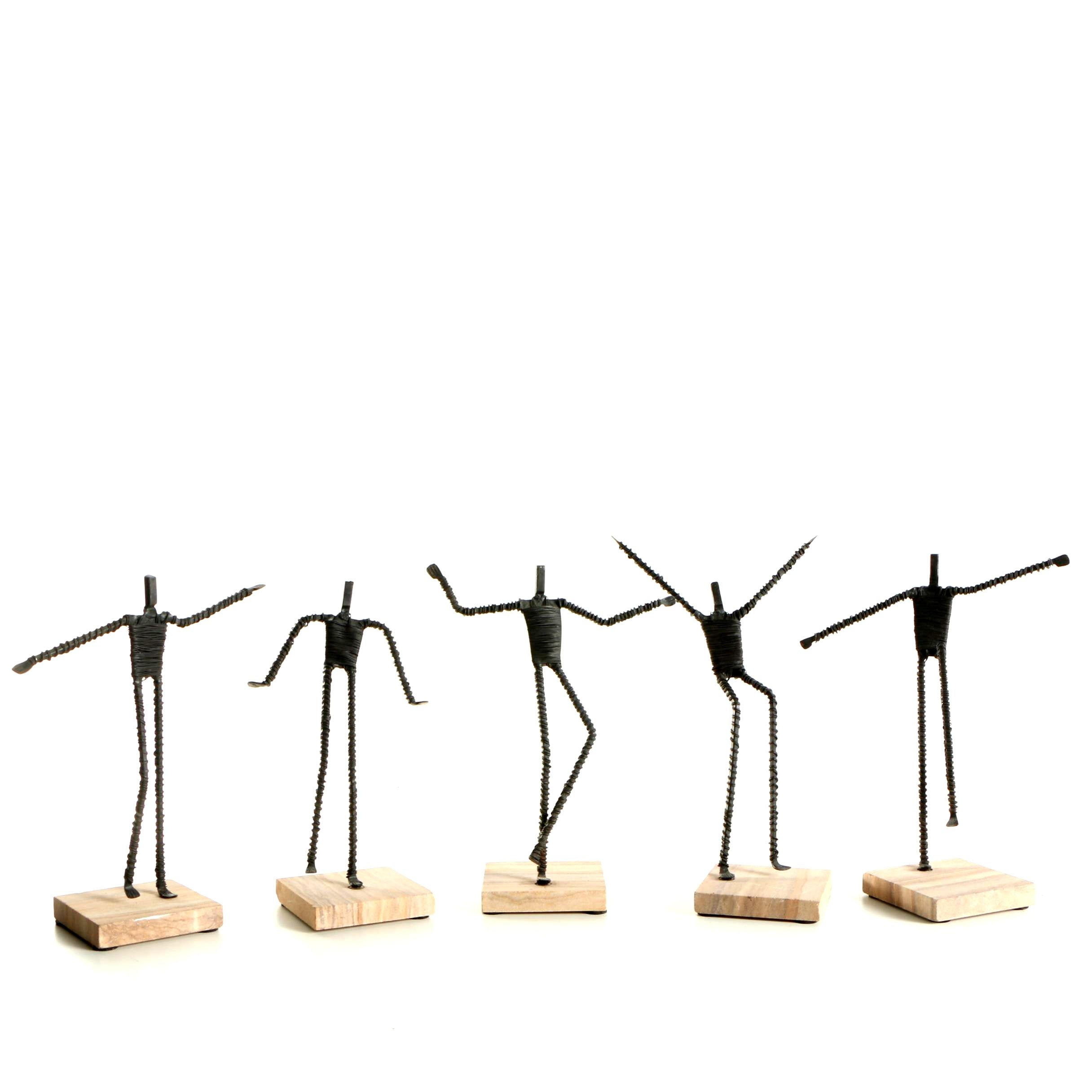 Wire Metal Figures on Sandstone Bases