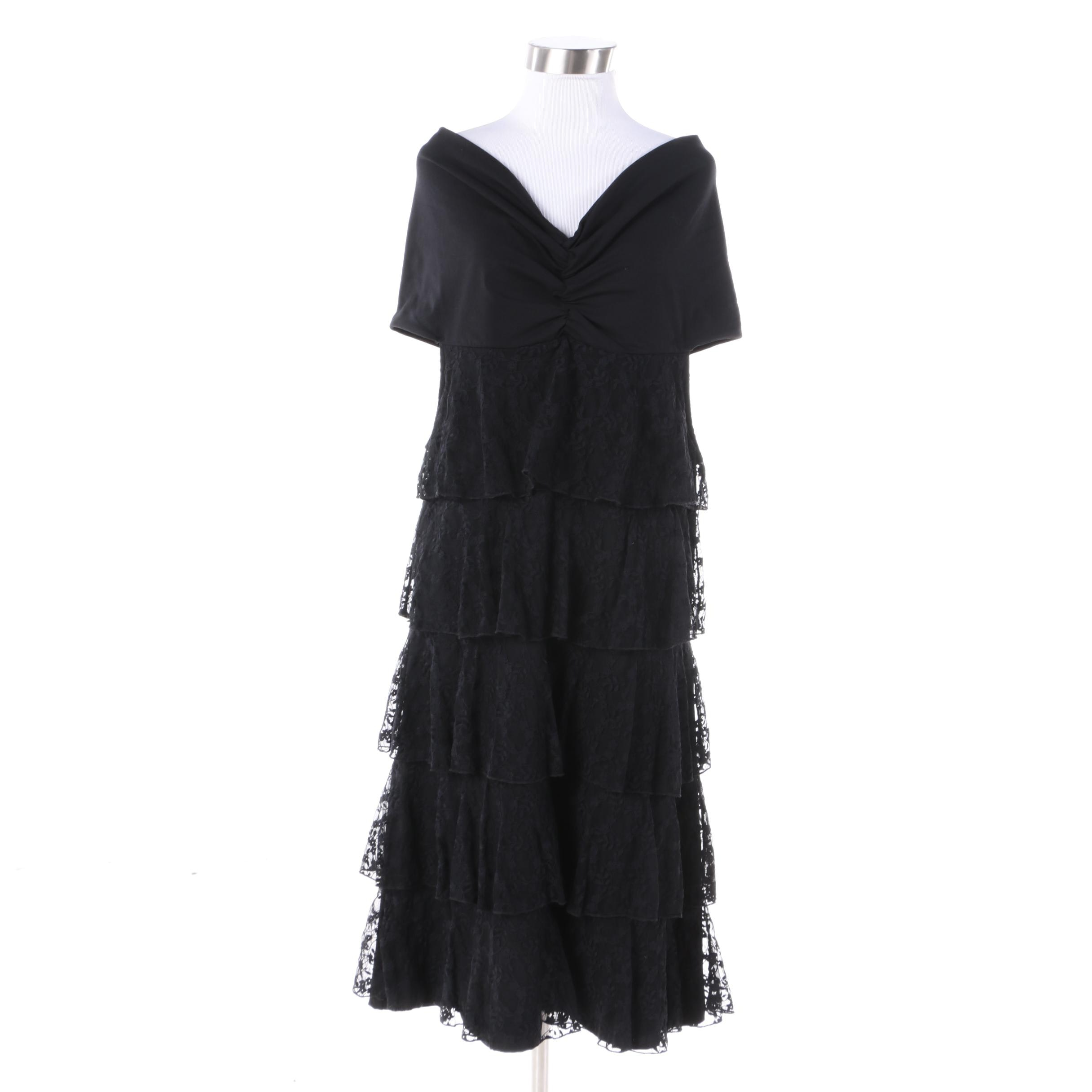 Anne Fontaine Mirage Off-the-Shoulder Black Cocktail Dress with Tiered Ruffles