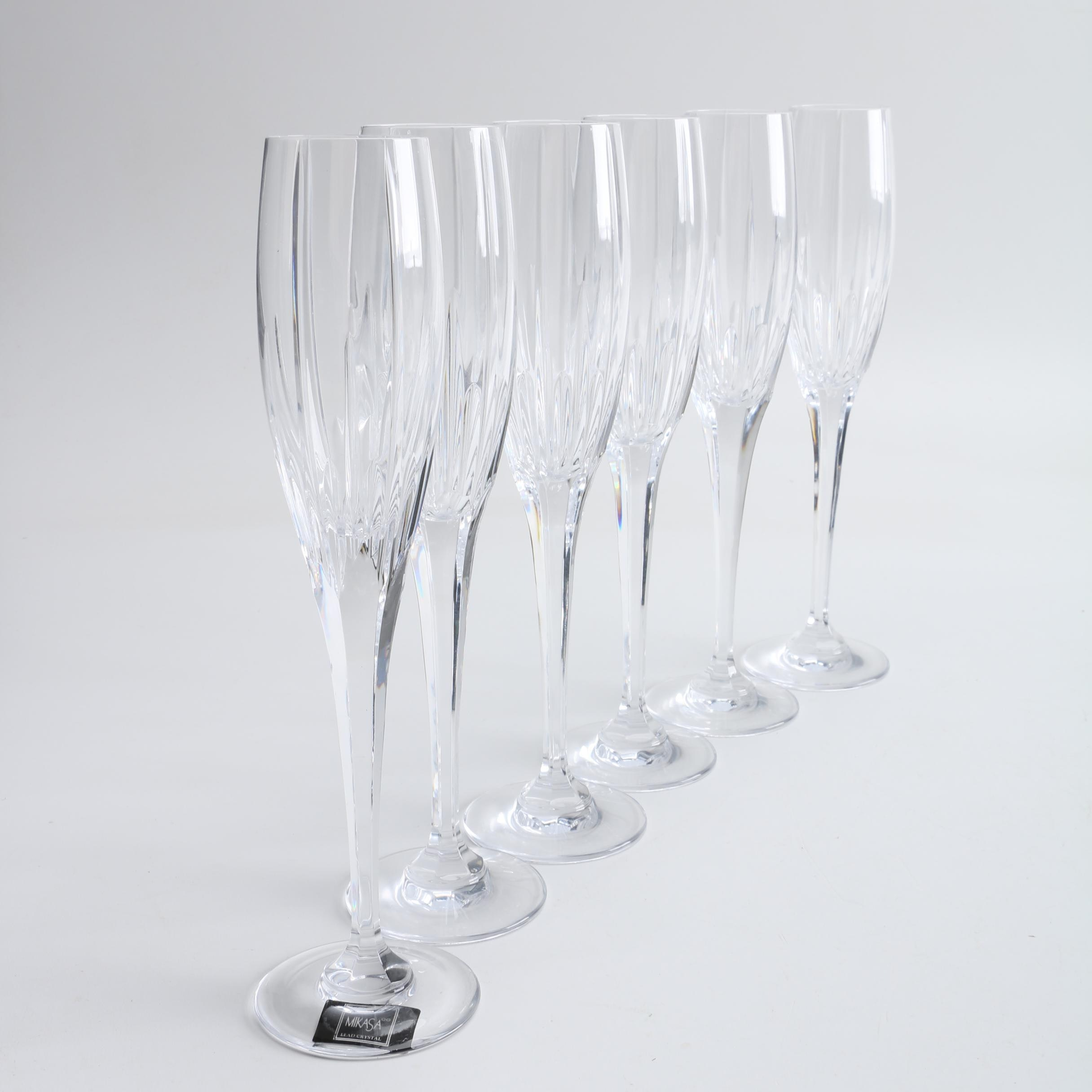 "Mikasa ""Arctic Lights"" Lead Crystal Champagne Flutes"