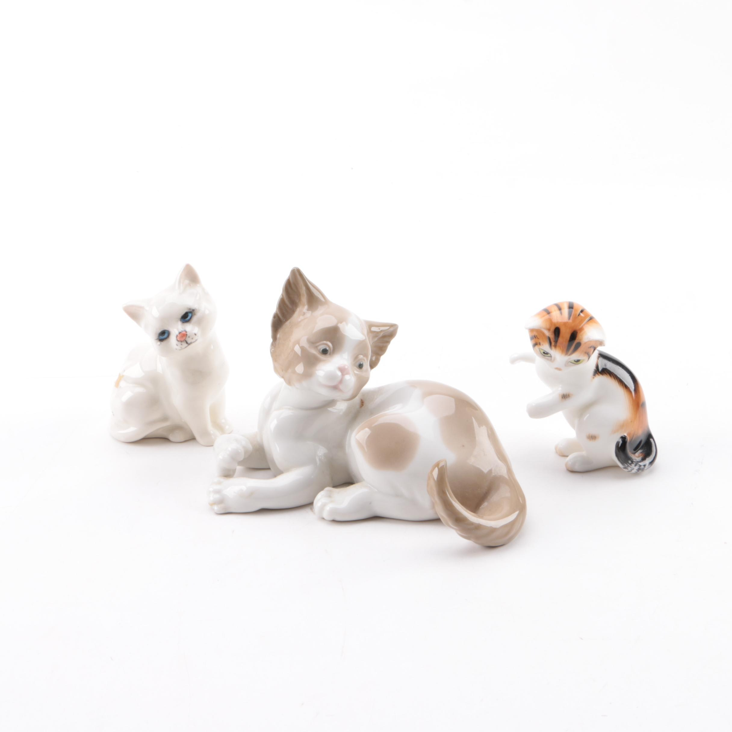Vintage Porcelain Cat Figurines Including Lladró