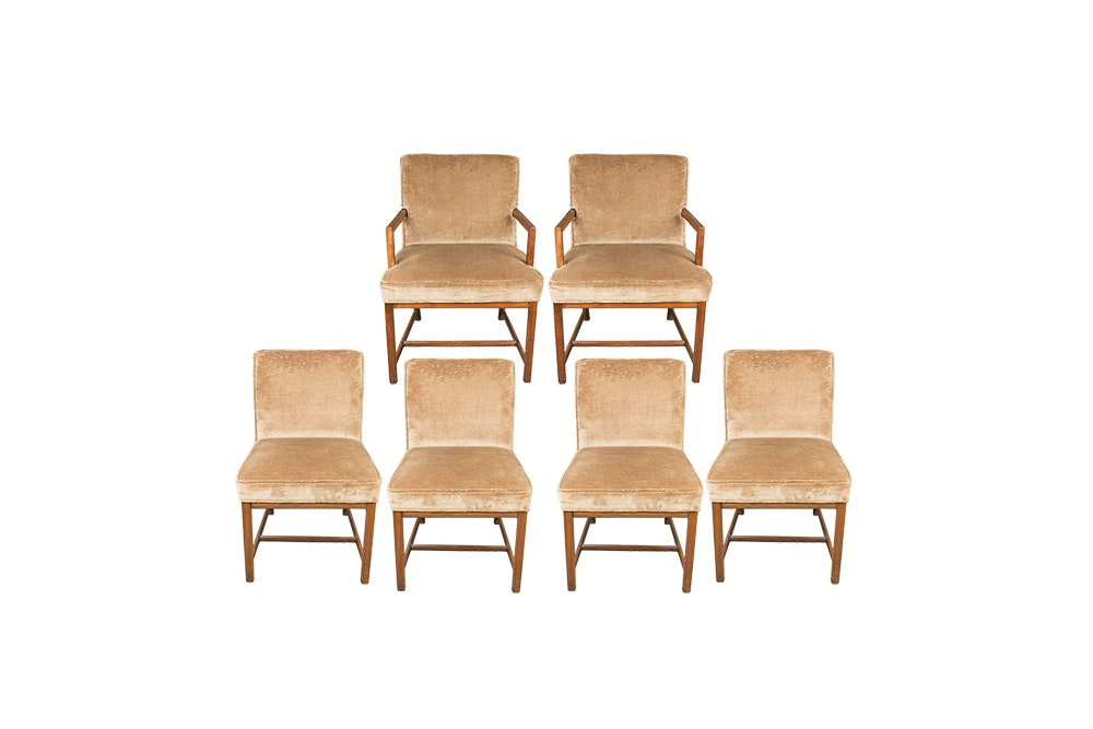 Vintage Velvet Upholstered Dining Chairs by Baker Furniture