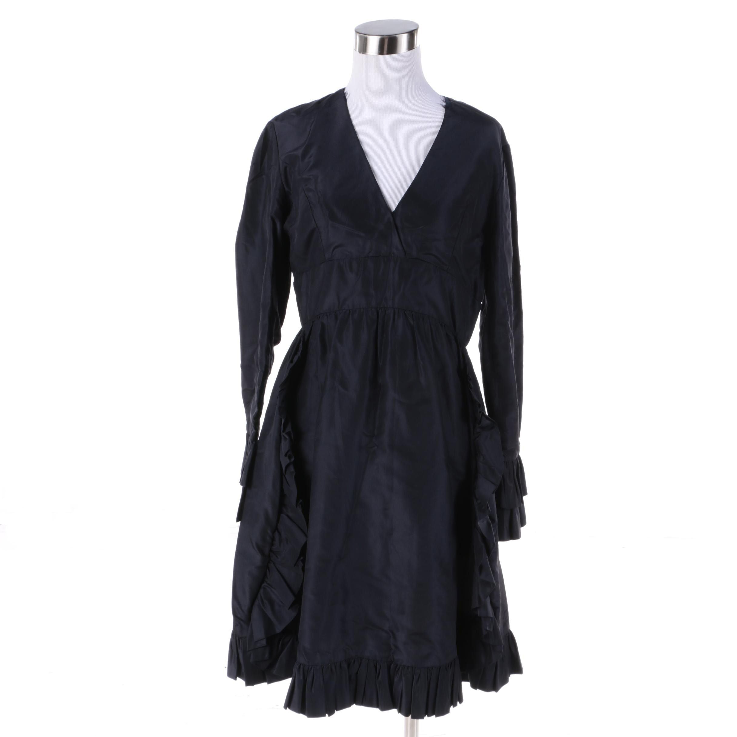 1960s Vintage Elinor Simmons for Malcolm Starr Black Silk Ruffle Cocktail Dress