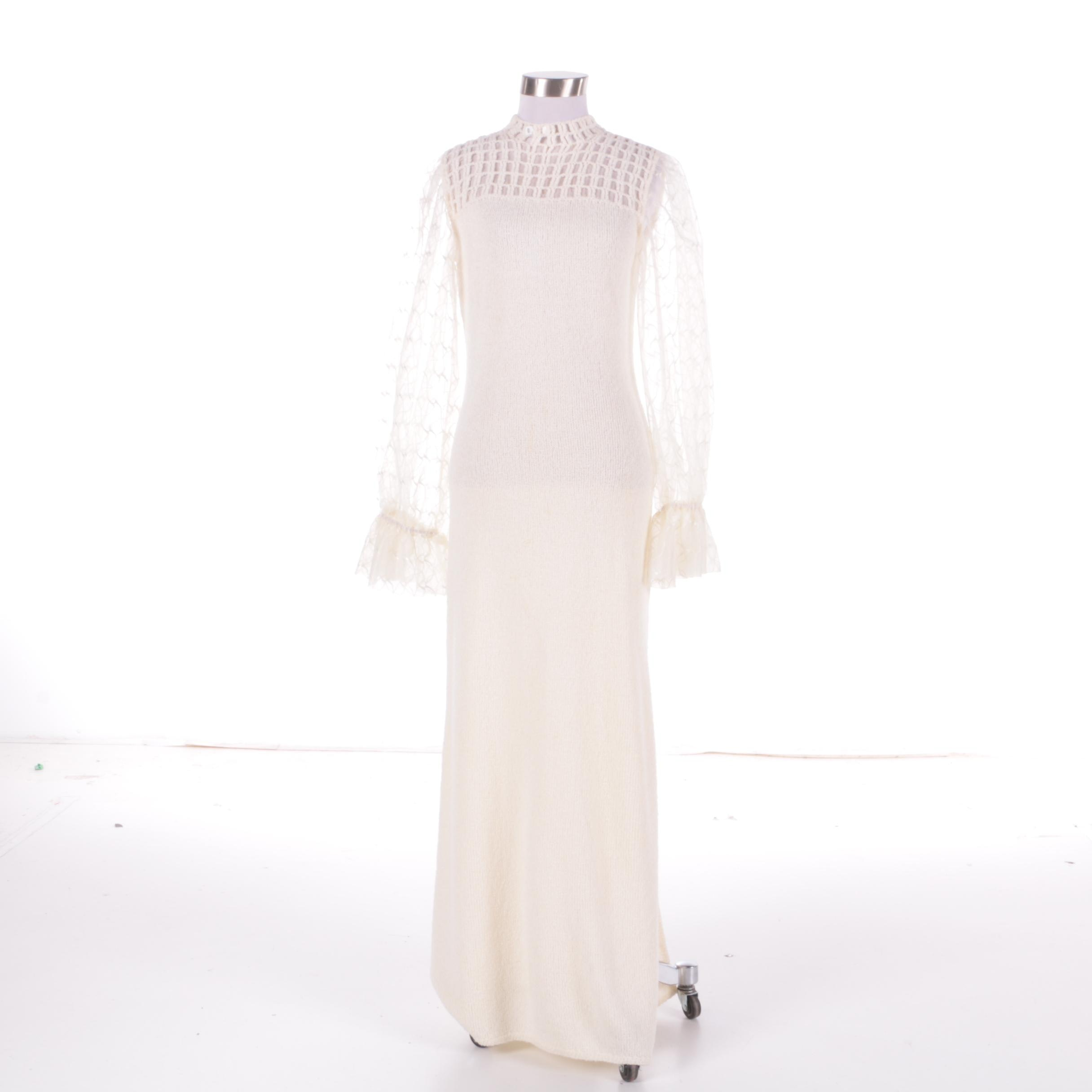 1980s St. John Ivory Knit Maxi Dress with Sheer Sleeves and Crochet Collar