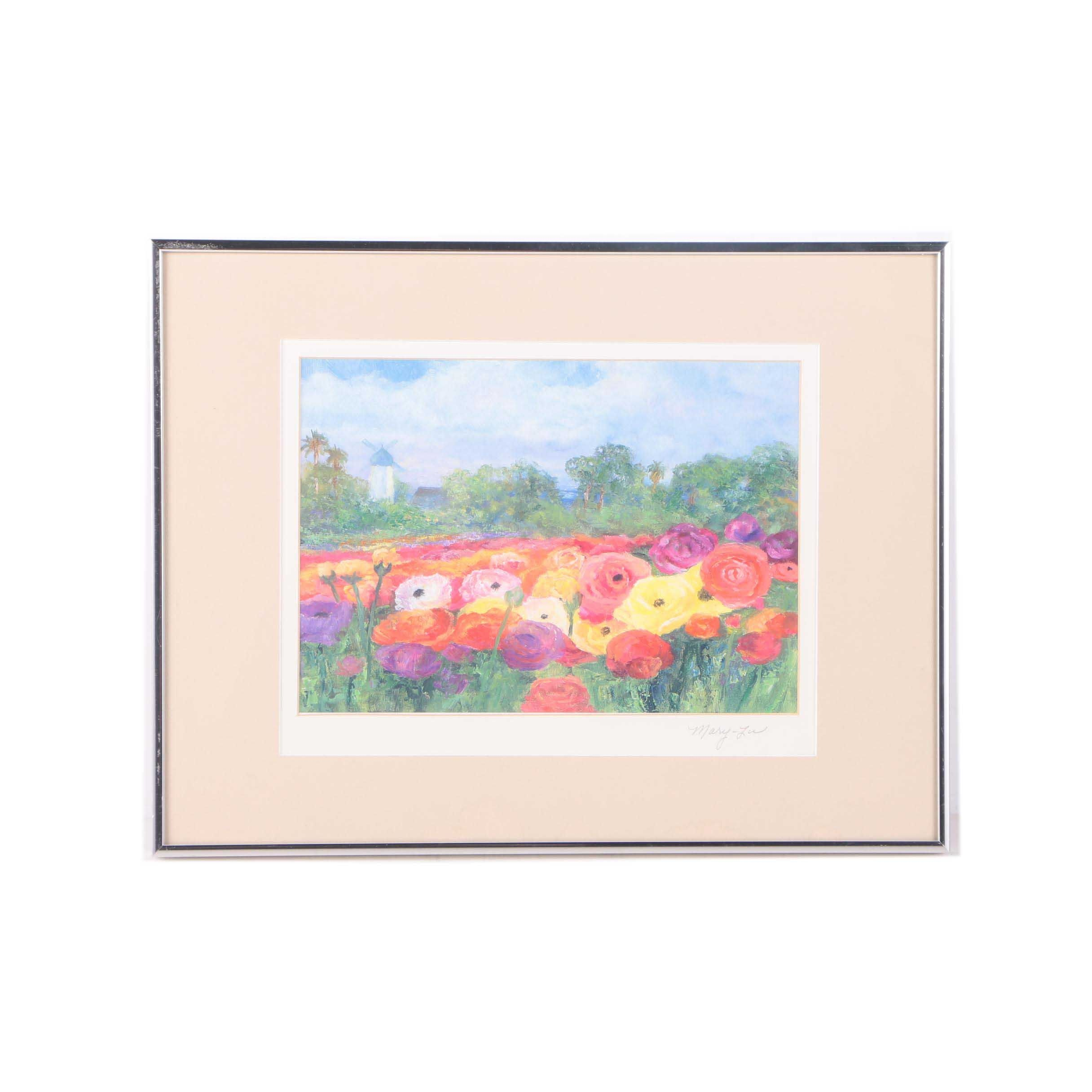 Mary-Lu Offset Lithograph on Paper of a Poppy Field