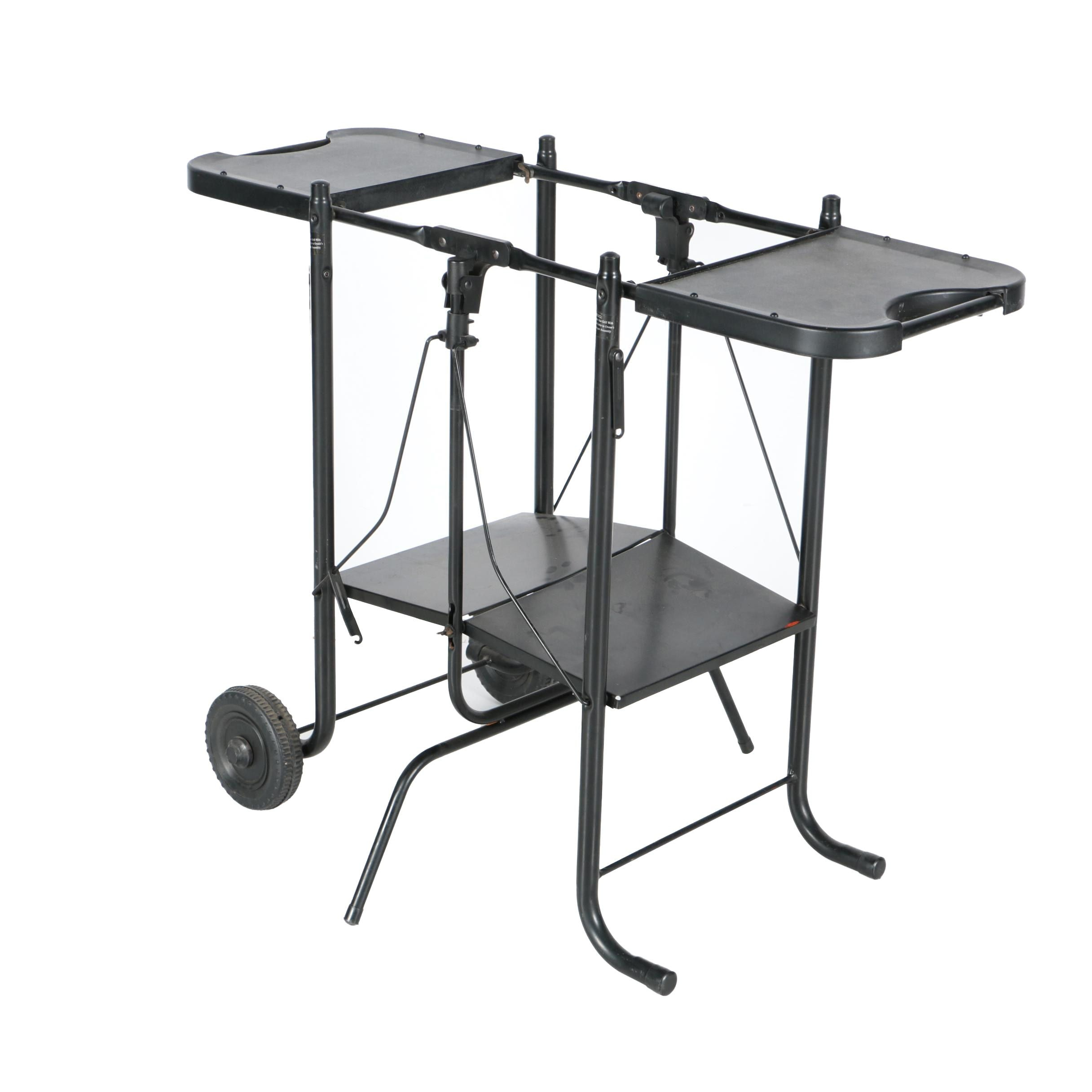 Contemporary Folding Metal Grill Cart