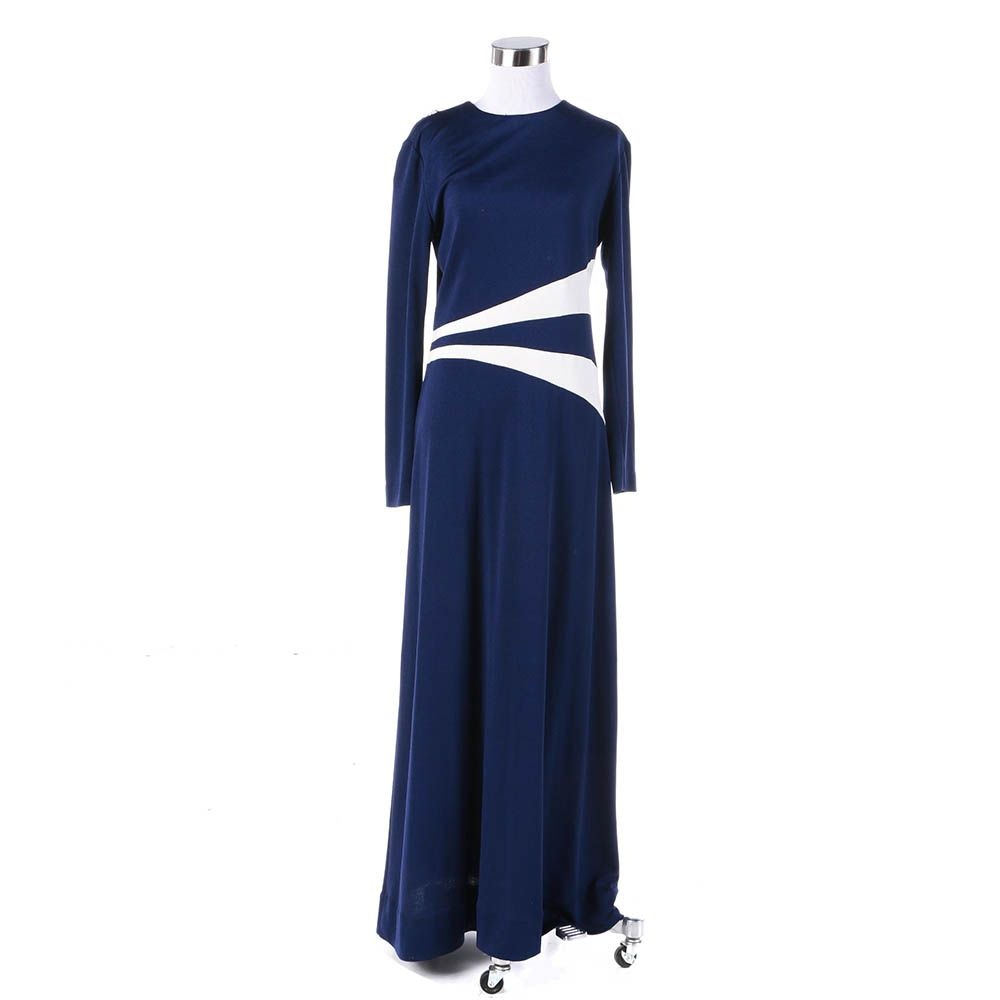 1970s Vintage Navy and White Moonbeam Maxi Dress