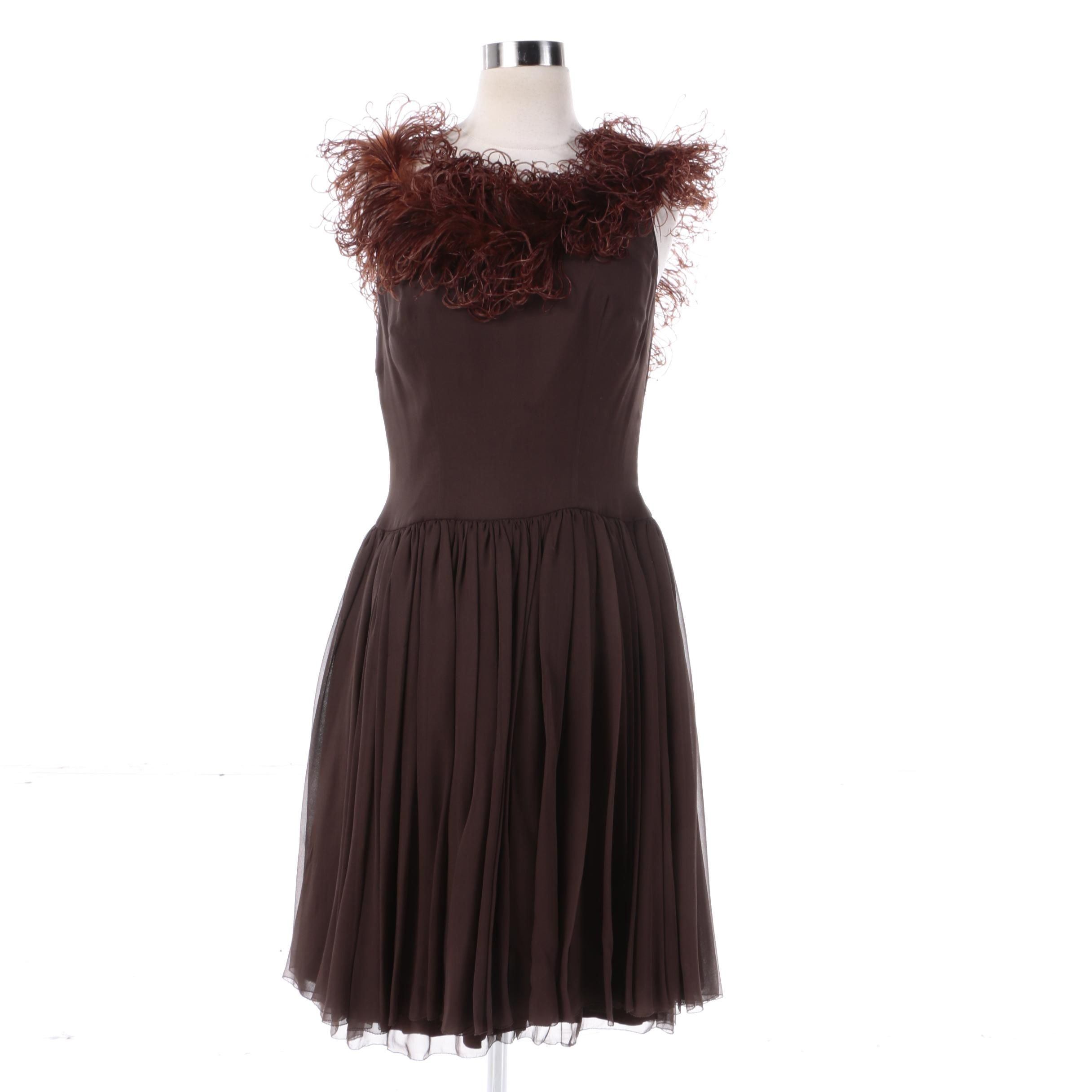 1960s Vintage Helga Ochre Brown Cocktail Dress with Ostrich Feather Neckline