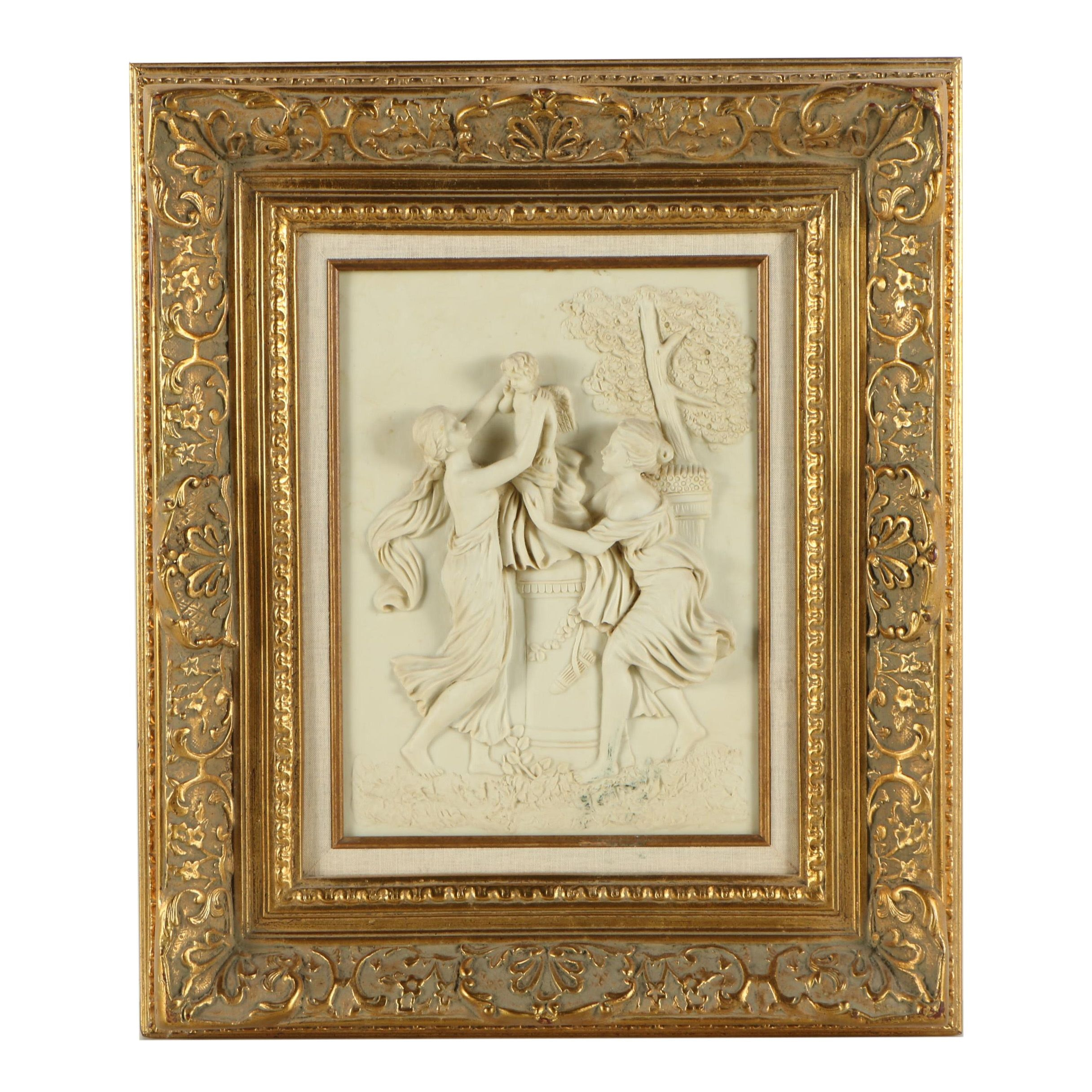 Cast Resin Relief in Rococo Style Frame