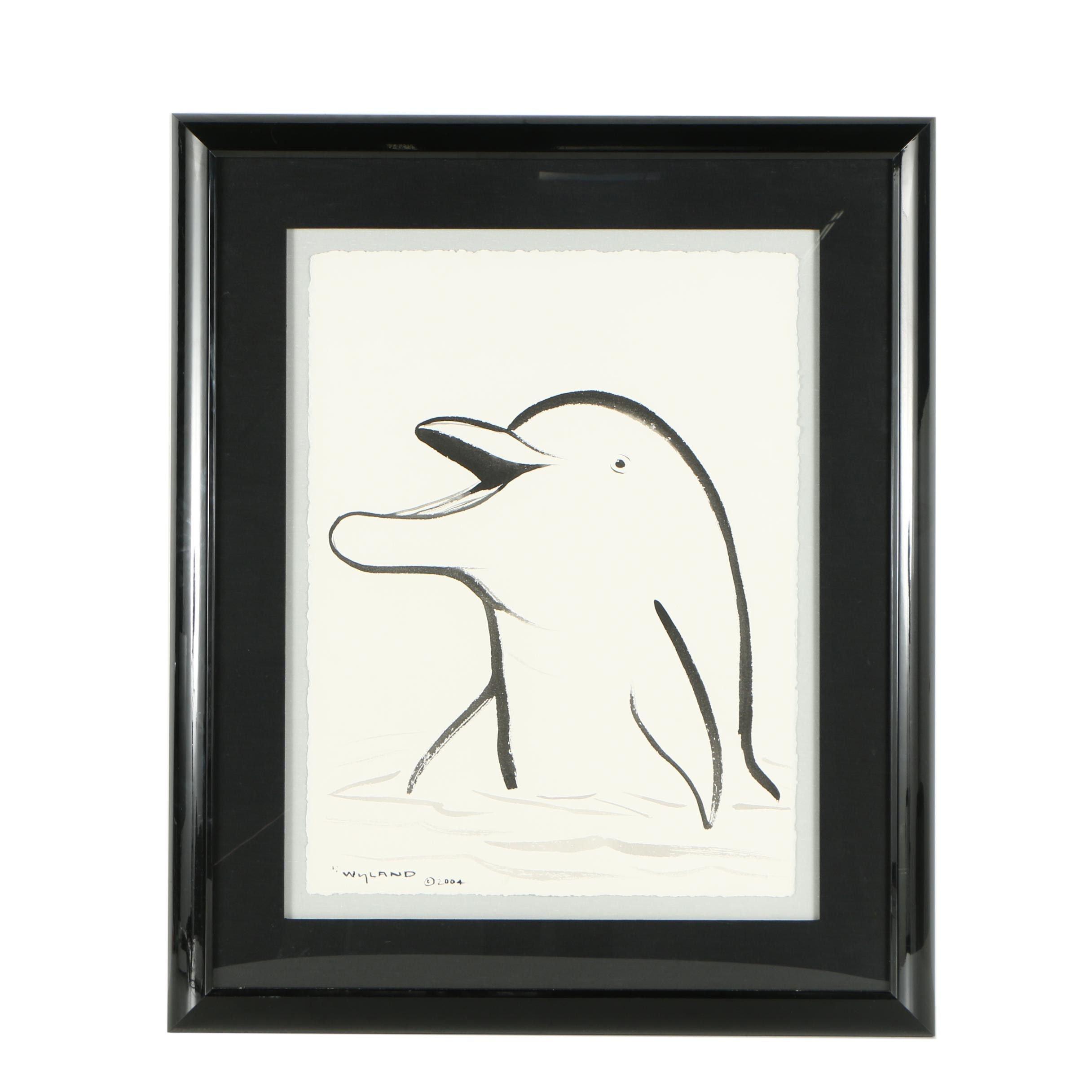 "Robert Wyland Ink Drawing ""Happy Dolphin"""