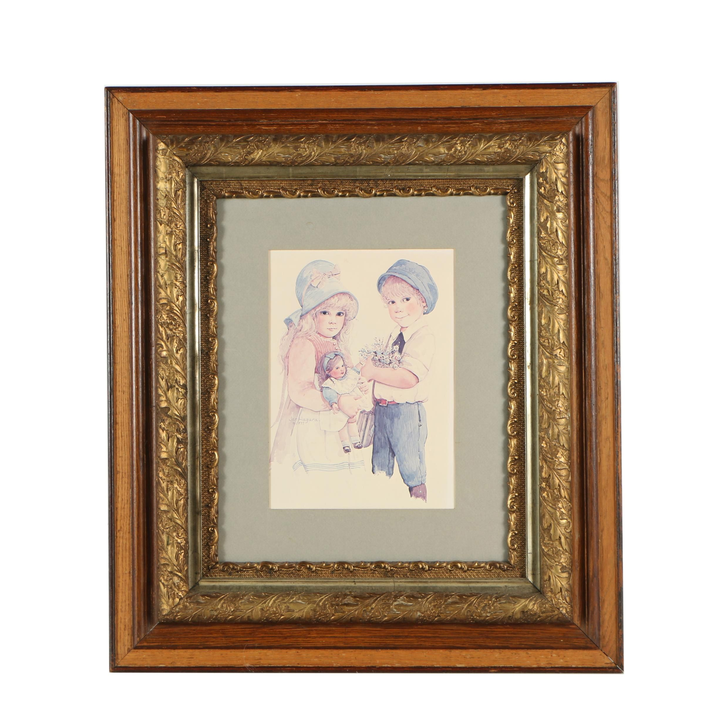 Antique Frame with Offset Lithograph After Jan Hagara