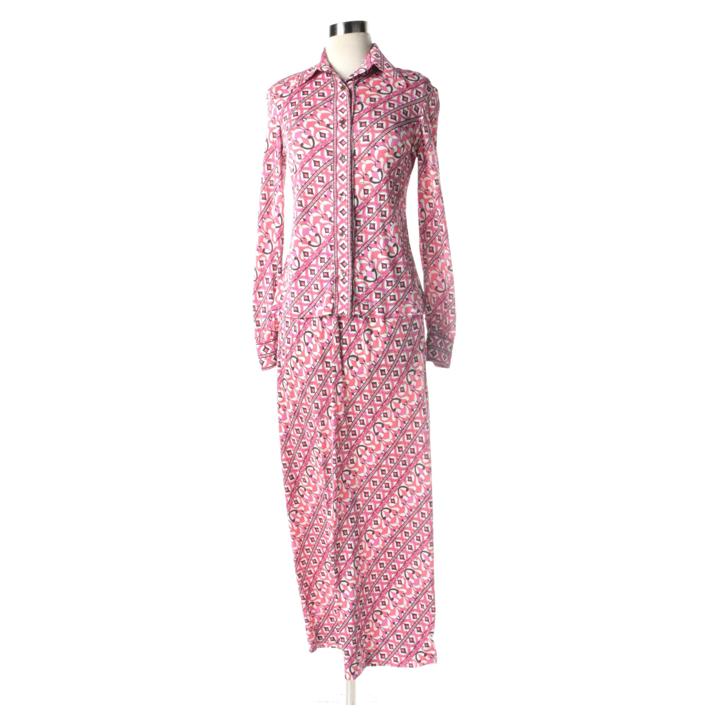 1960s Vintage Emilio Pucci Silk Jersey Blend Blouse and Skirt Set