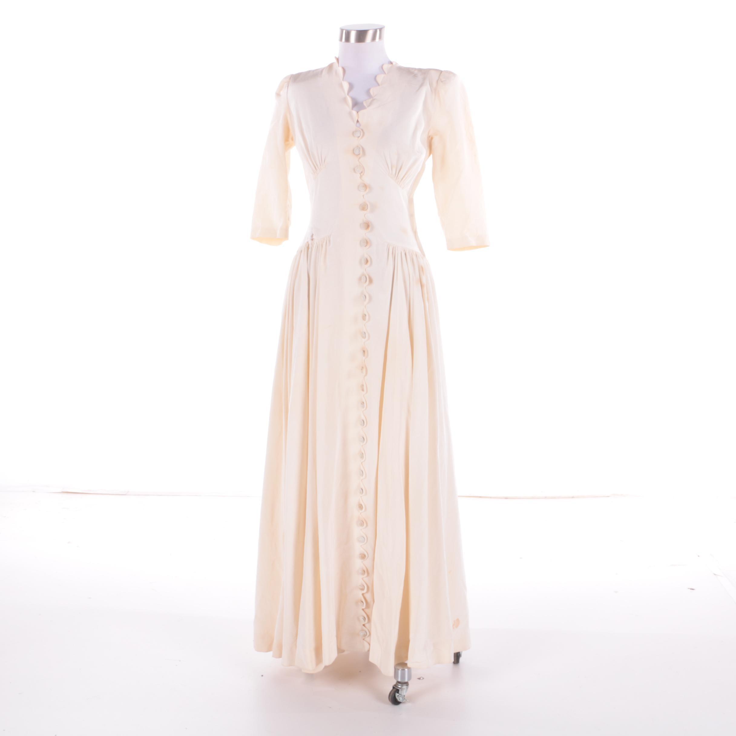 1930s Vintage Bias Cut Ivory Silk Dress
