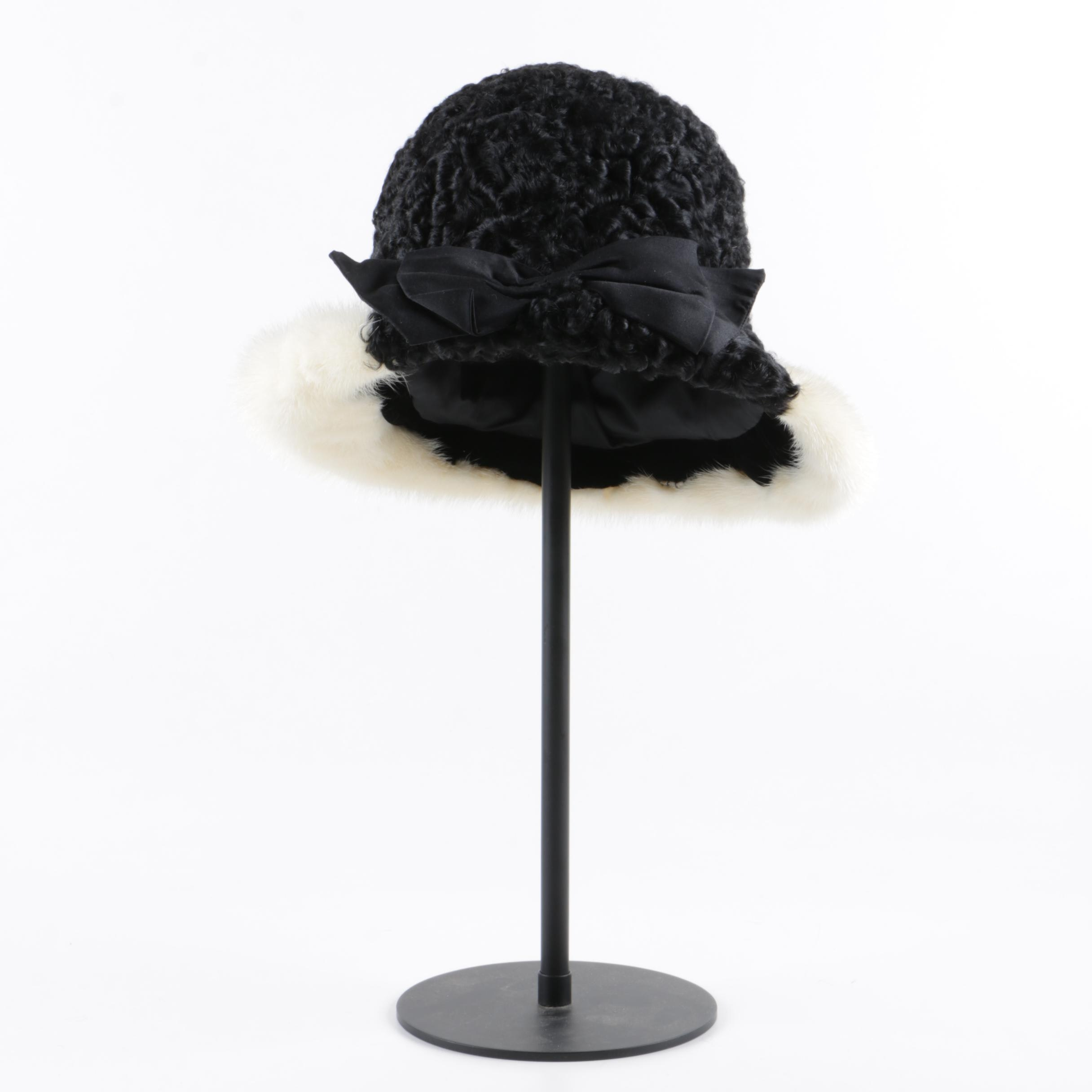 Women's Vintage Black Persian Lamb and Platinum Mink Fur Hat