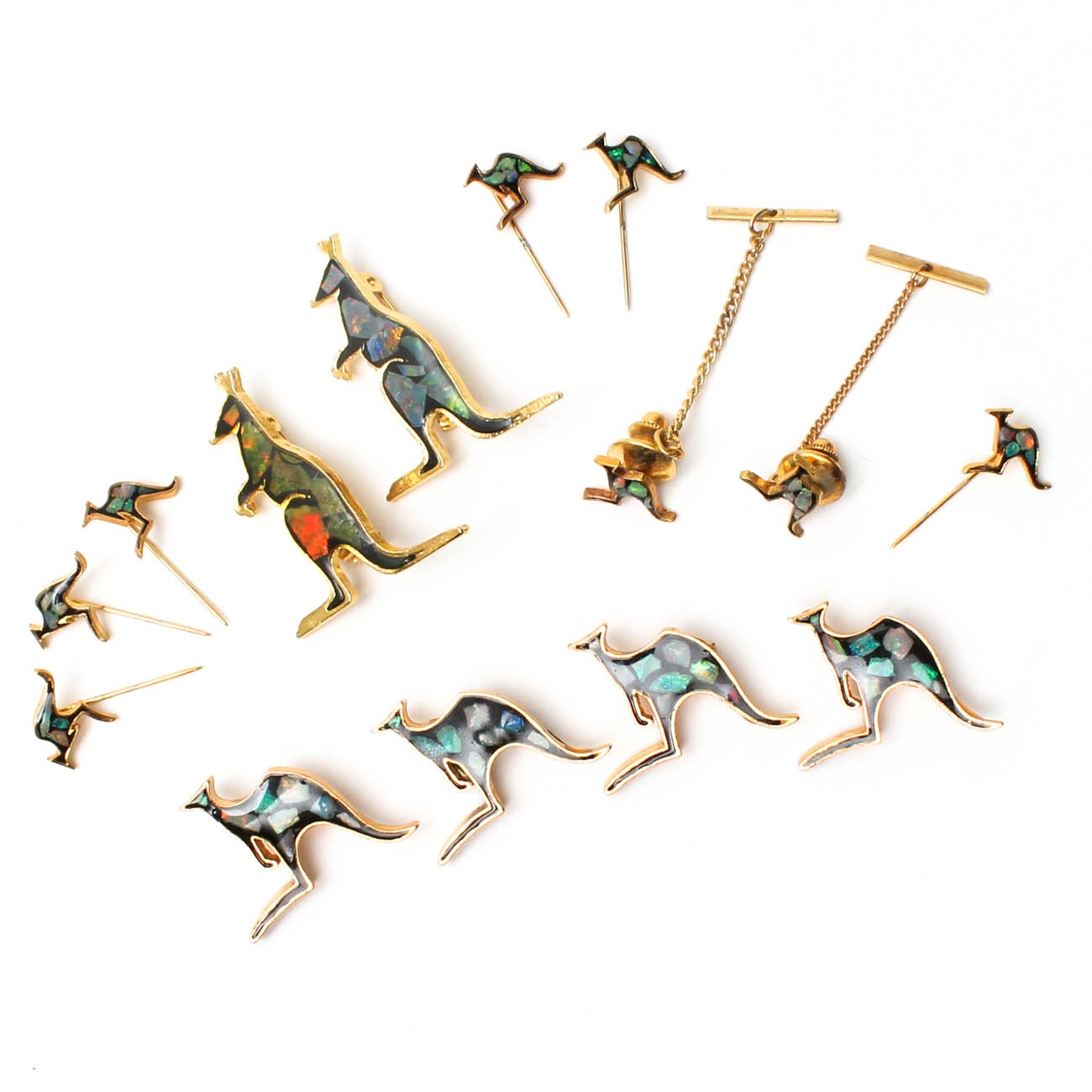 Collection of Kangaroo Brooches, Stick Pins, and Tie Tacks with Opal