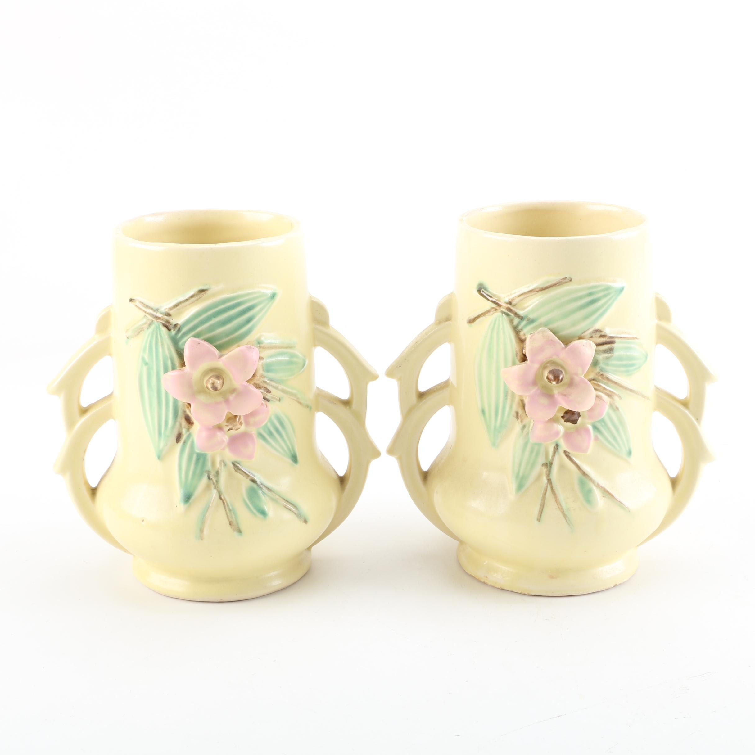"1940s McCoy Pottery ""Blossom Time"" Handled Vases"