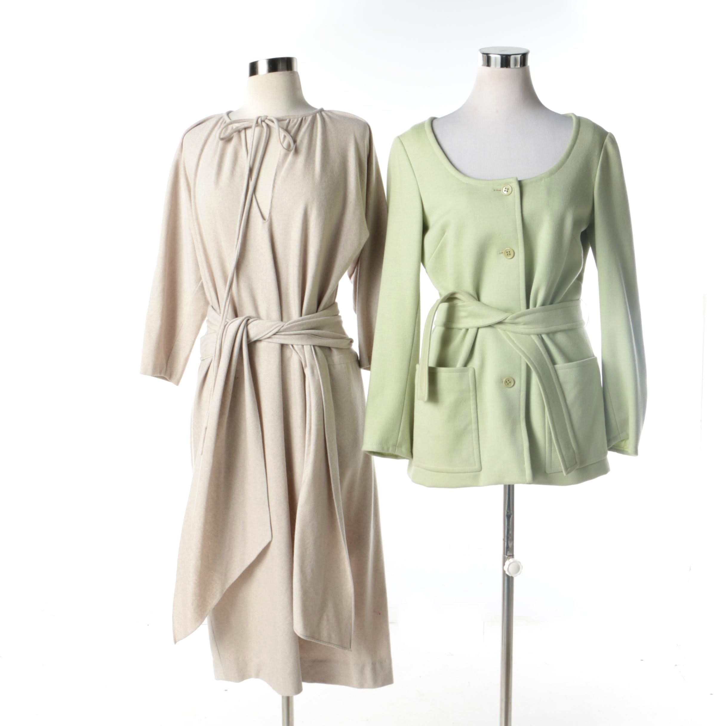 1970s Vintage Halston Spring Green Jacket and Oatmeal Midi Dress