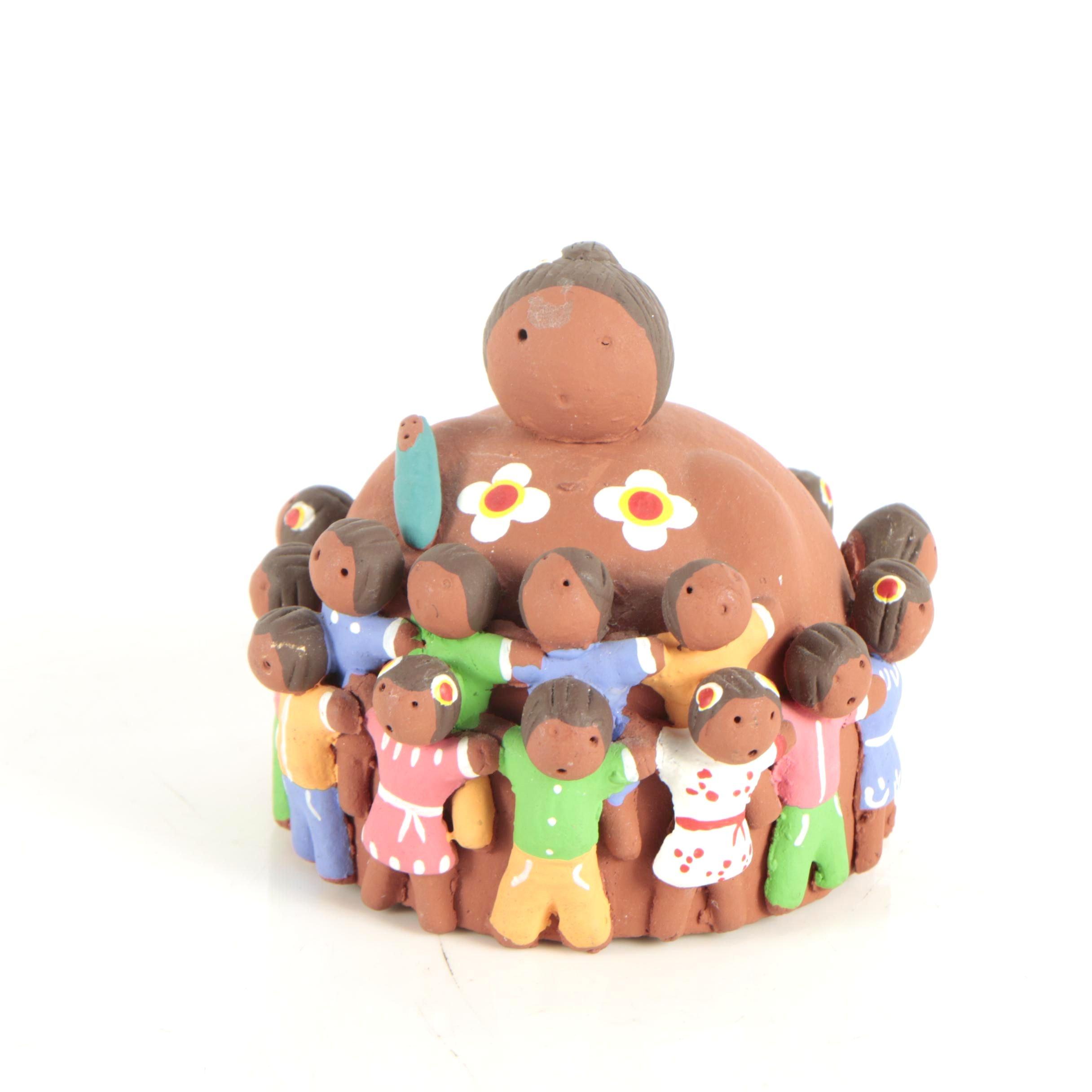 Handbuilt Central American Storyteller Figurine