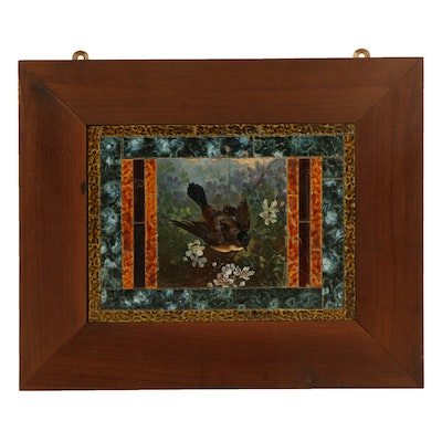 Hand Painted Wall Tile Architectural Piece Framed and Signed