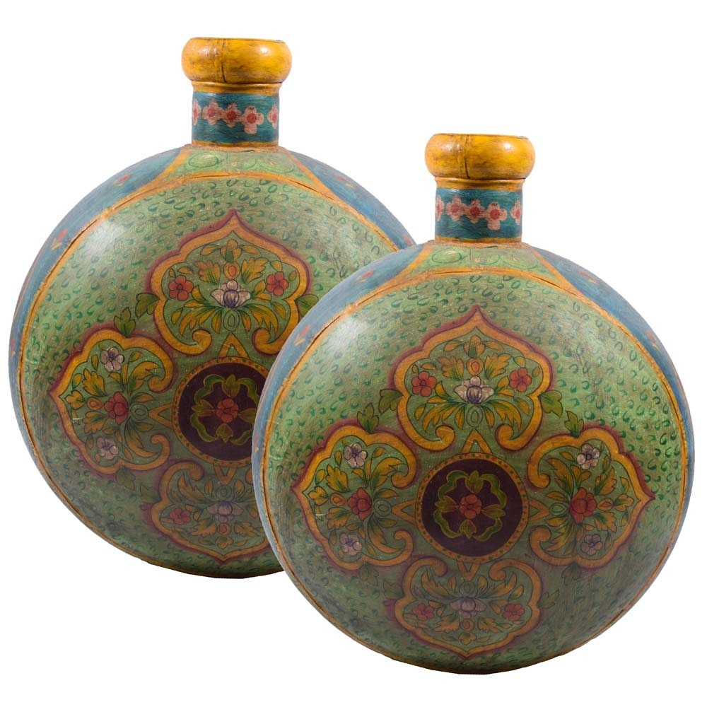 Indian Inspired Painted Metal Vessels