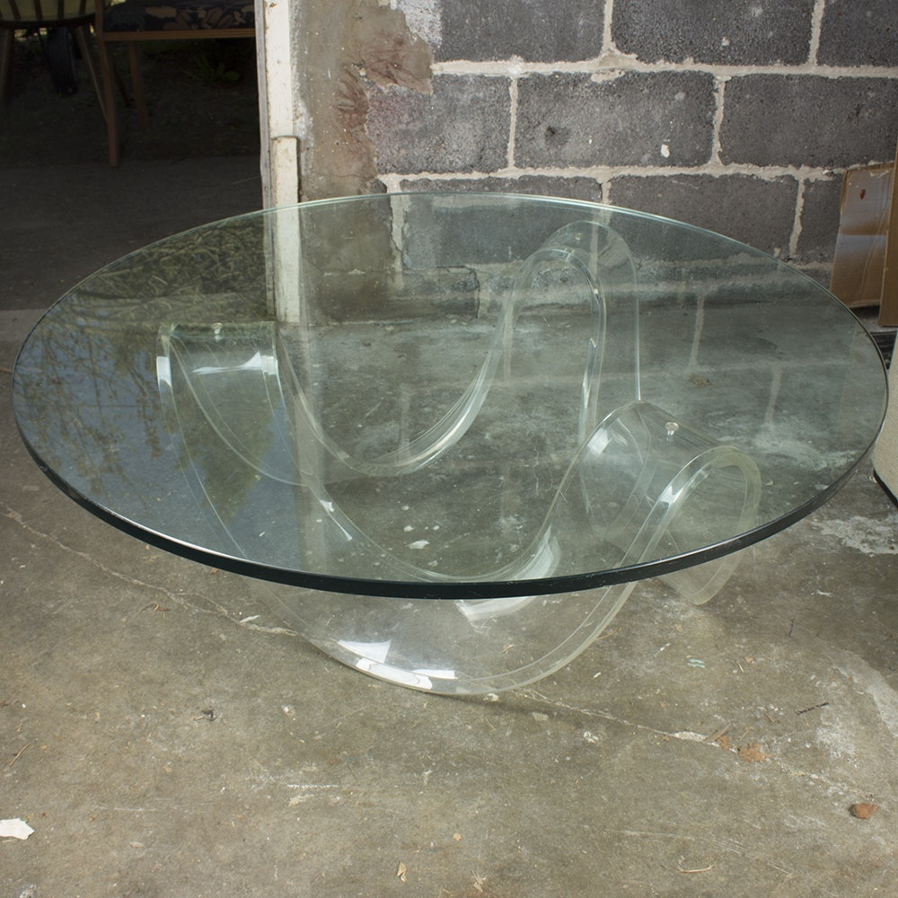 Mid Century Modern Acrylic Ribbon Coffee Table