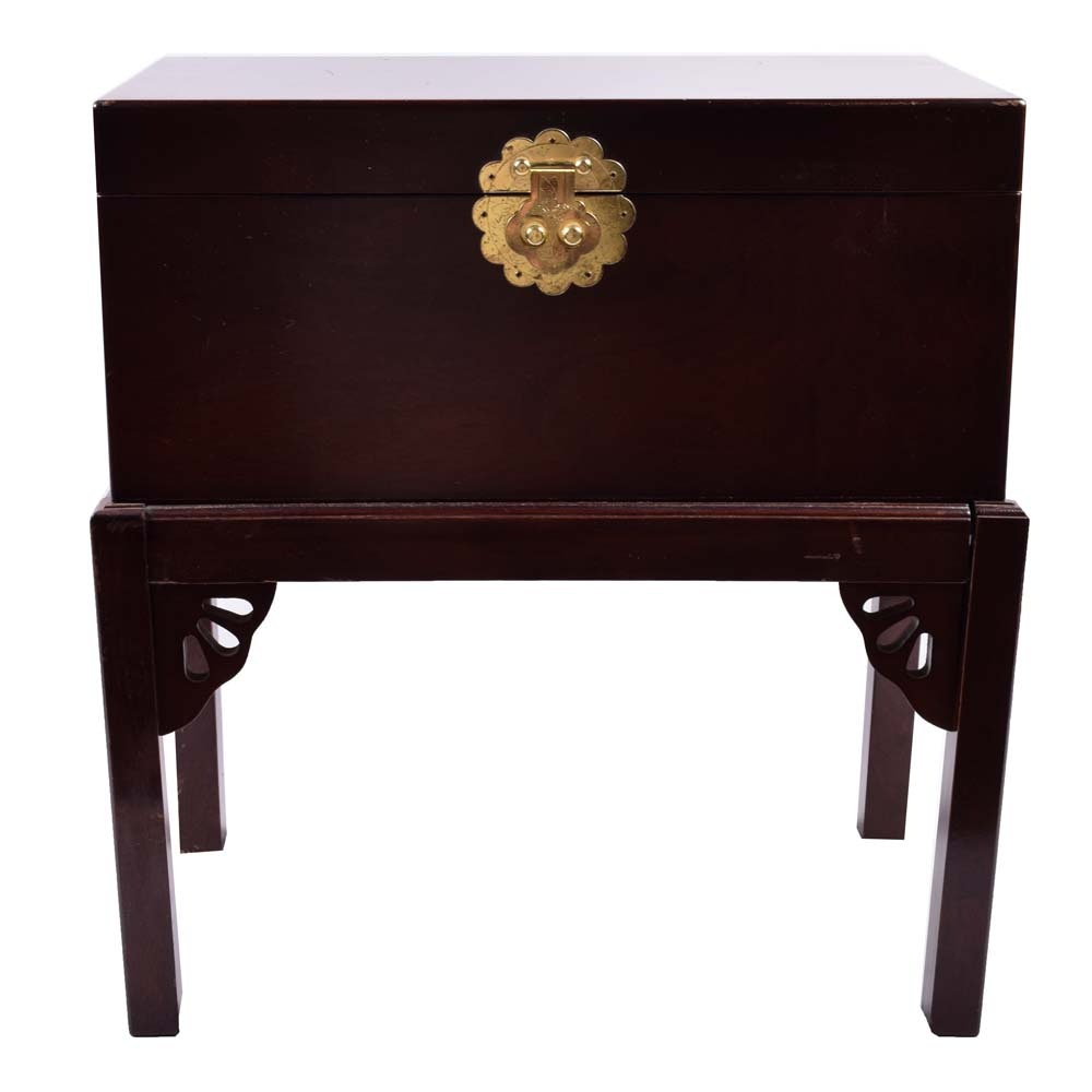 Chinese Chippendale Style Deed Box on Stand
